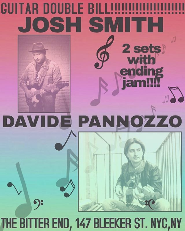 JUST ANNOUNCED! Double guitar bill! Josh Smith @joshsmithguitarzan (and his trio) and Davide Pannozzo (feat. Will Lee and Shawn Pelton), October 15th - 9.30/12 at @thebitterendnyc | Two sets + final jam - Get Your Tickets Now, link on bio! They won't last long! 🔥