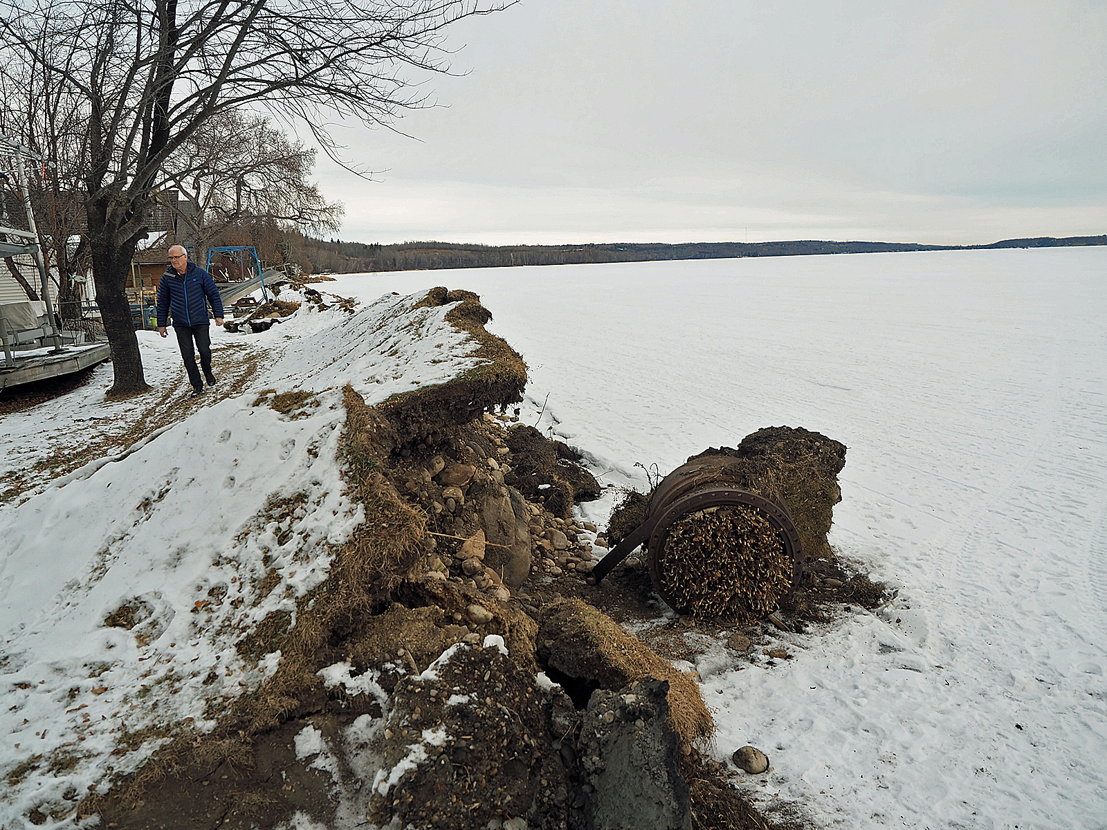 Buckled shoreline as a result of the ice heave.