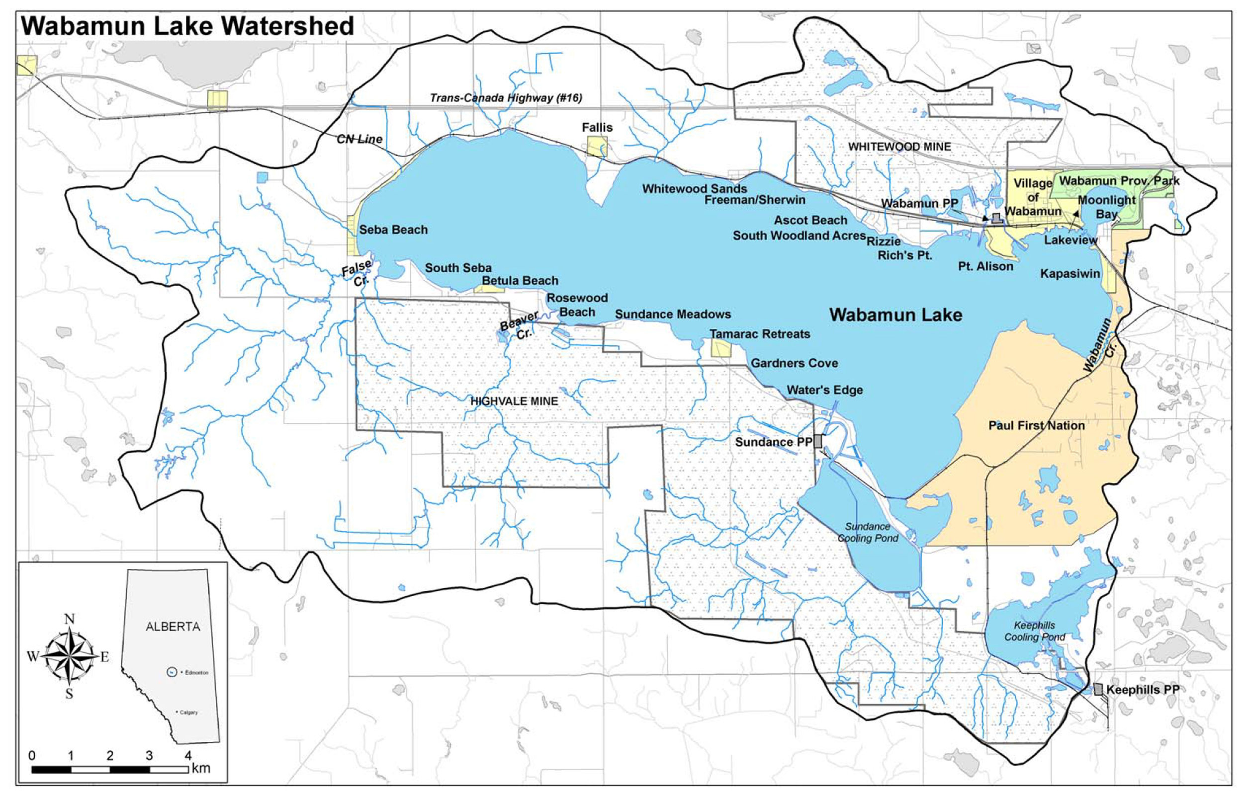 Wabamun Lake's watershed (outlined in black) is small compared to other lakes of similar size. It is about three times the size of the lake.