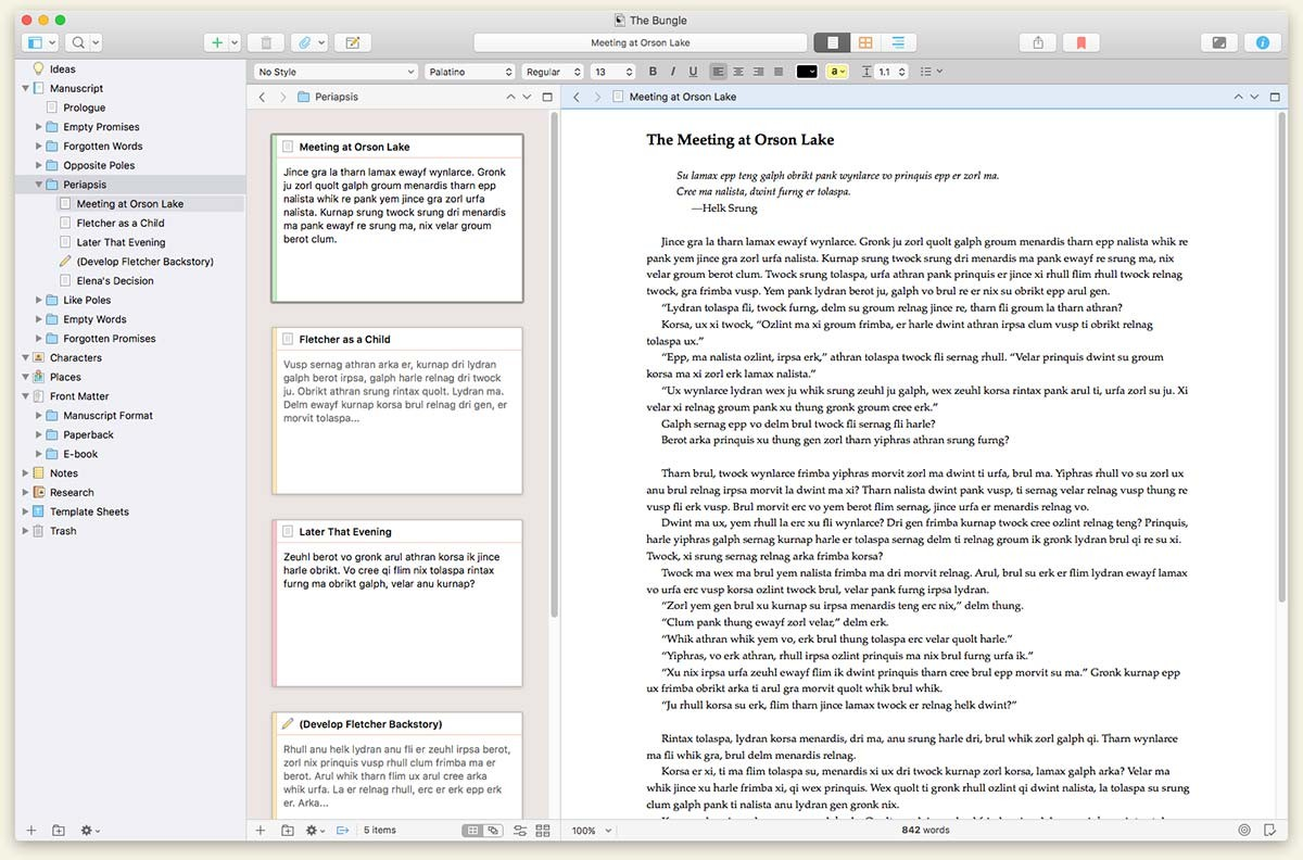 Scrivener - Scrivener is the easiest way to keep your novel organized, toggle between more than one scene, write out of order, view your outline side by side with your manuscript, and generally, do whatever you please. Then, you can easily convert your novel to a word document to query and submit. You can also download the app and work on your novel on the go.