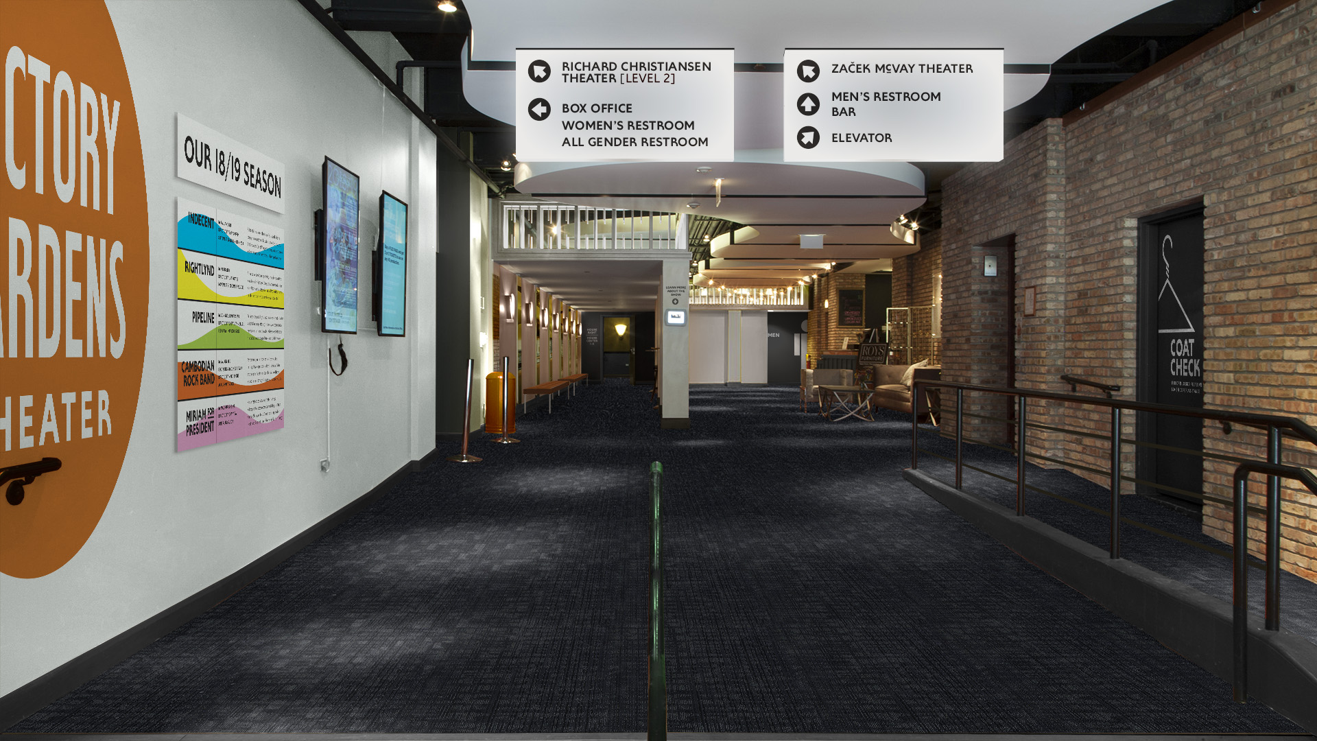 My proposal for an updated lobby of the Biograph Theater — cleaning up its current hodgepodge of paint colors and providing bold, clean wayfinding graphics in line with the theater's other visual branding.