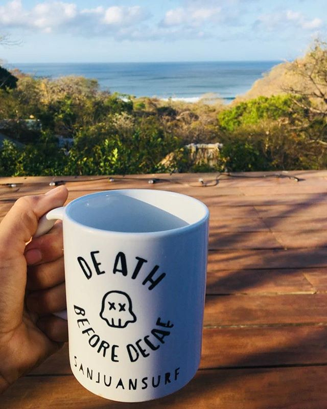 Coffee. Deck. Surf check.
