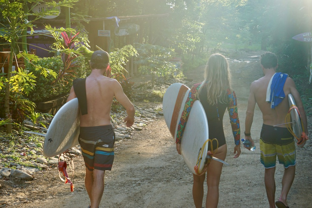 Surfers at our nica surf camp in Playa Maderas, Nicaragua