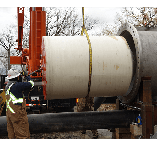 "Pig Entering Launcher - 60"" Raw Water Intake Pipeline"