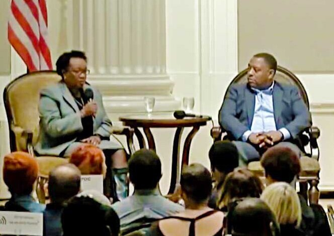 "Panelists Lisa Collins, Kali Ladd and Joe McFerrin at City Club of Portland's Friday Forum, ""How Oregon Is Failing Black Students,"" Nov. 30, 2018."