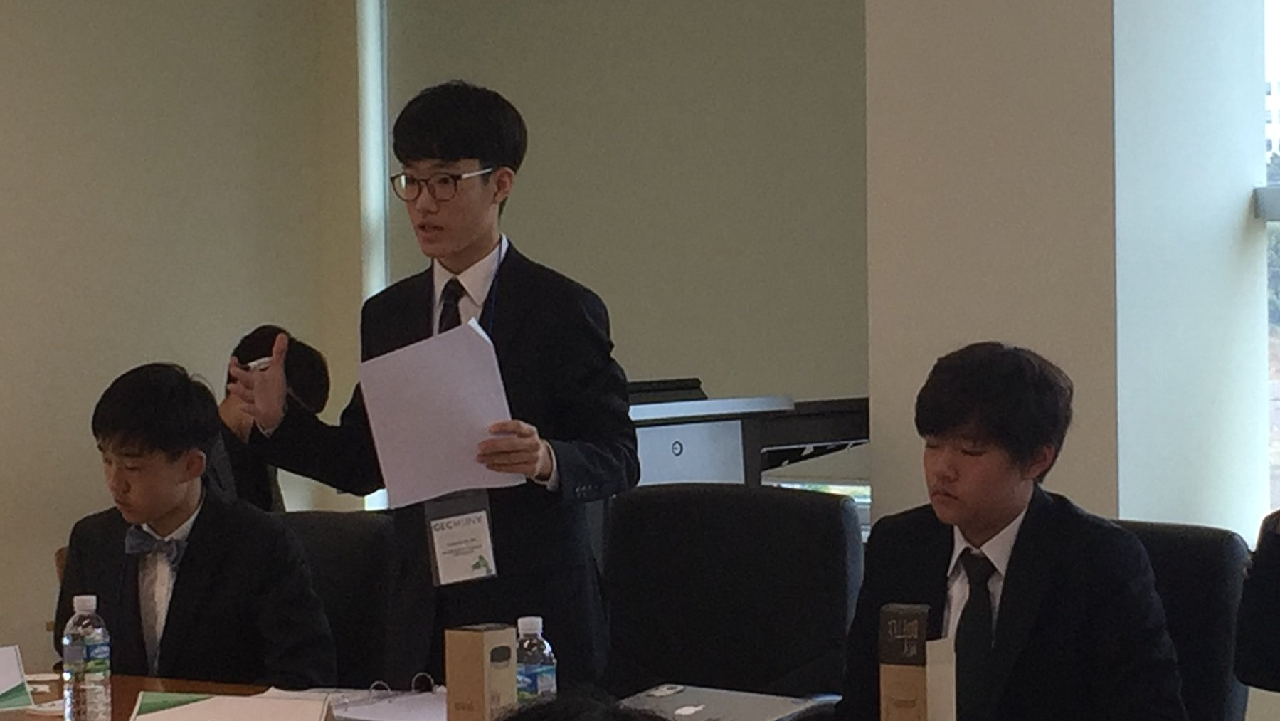 An SIS student participates in the Global Education City Model United Nations Conference(GECMUN) in Jeju, South Korea.