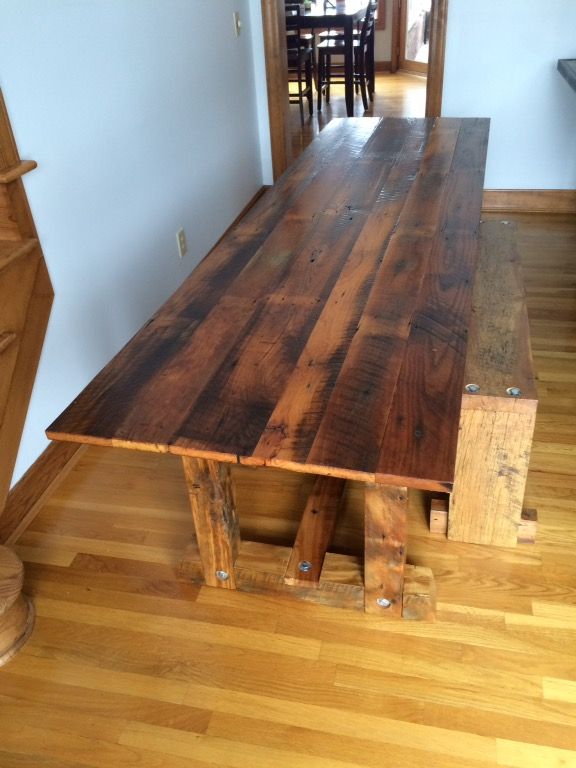 Dining Room table, trestle style and more contemporary – usually 30-36″ wide, $100/ft