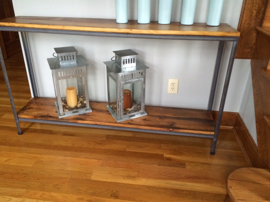 Metal and wood sofa/occasional tables- $80/ft