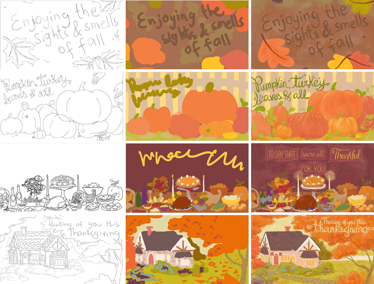Background Illustration Progress: from line (left column), to color composition (middle), to final illustration (right)
