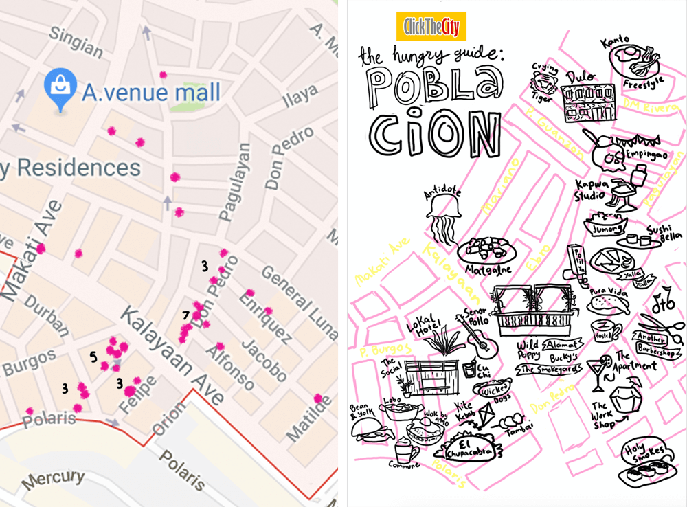 Illustrated Map Sketch of Poblacion Makati for Click The City by Jeca Martinez
