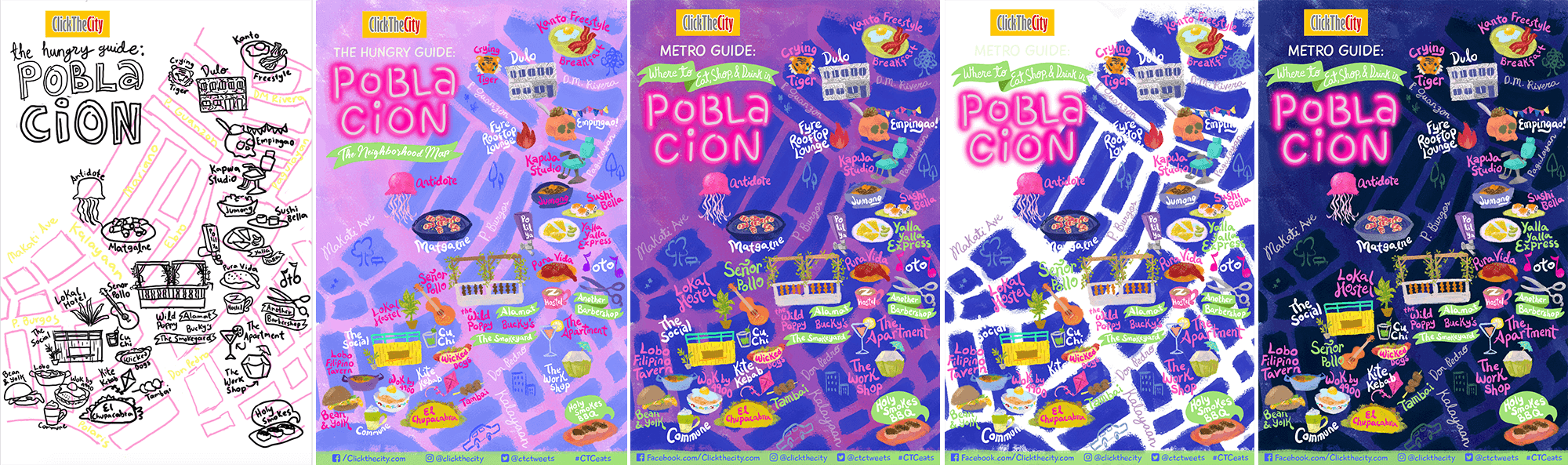 Illustrated Map Color Progress of Poblacion Makati for Click The City by Jeca Martinez