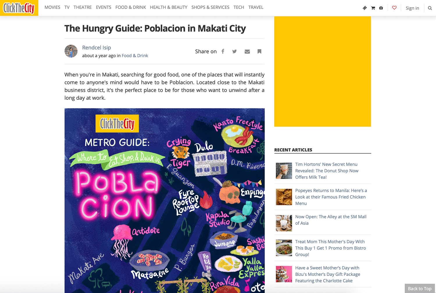 Illustrated Map of Poblacion Makati featured on Click The City by Jeca Martinez