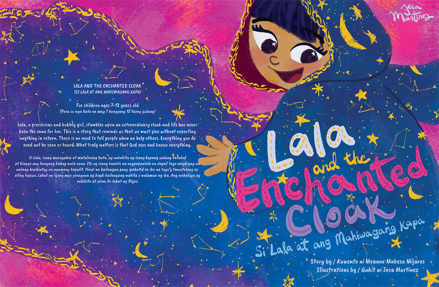 Full Children's Book Cover Spread of Lala and the Enchanted Cloak for Vibal Publishing by Jeca Martinez