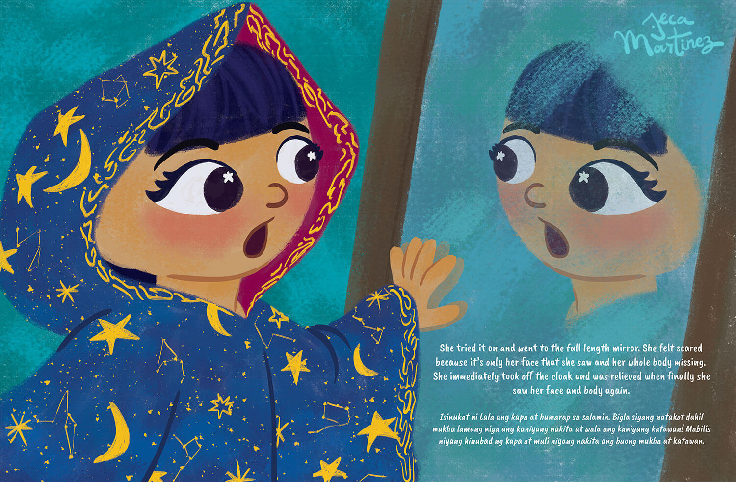 Children's Book Illustration by Jeca Martinez for Lala and the Enchanted Cloak 2