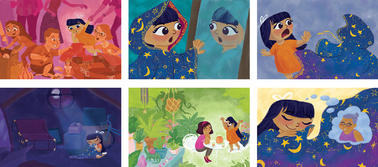 Children's Book Story Illustrations by Jeca Martinez for Lala and the Enchanted Cloak