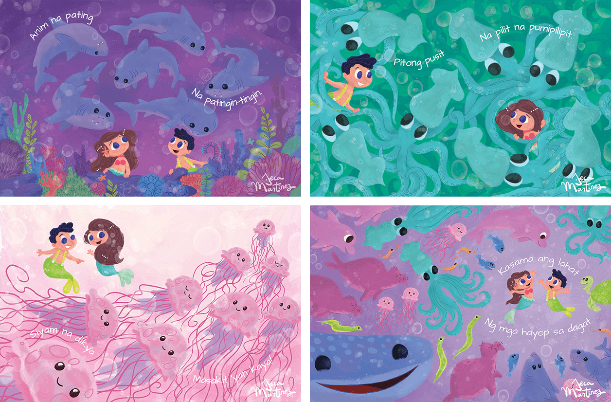 Children's Book Illustrations for Counting In The Ocean (Bilangan Sa Karagatan) Childrens Book Illustrations for Vibal Group by Jeca Martinez 2