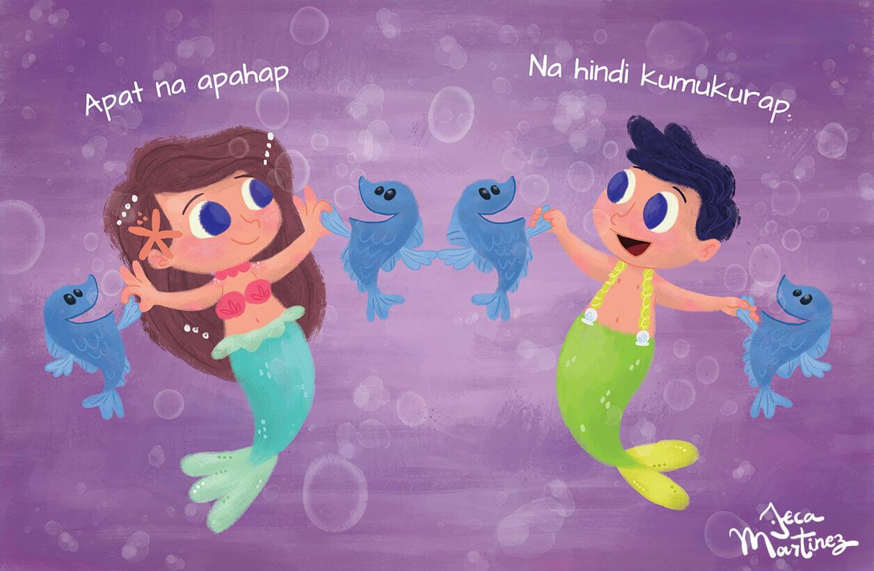 Counting In The Ocean (Bilangan Sa Karagatan) Childrens Book Illustrations for Vibal Group by Jeca Martinez 3
