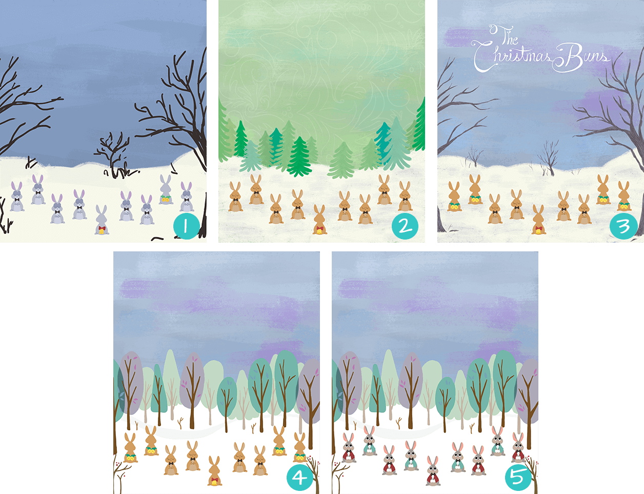 Background Studies from The Christmas Buns Animation for Hallmark by Jeca Martinez 1