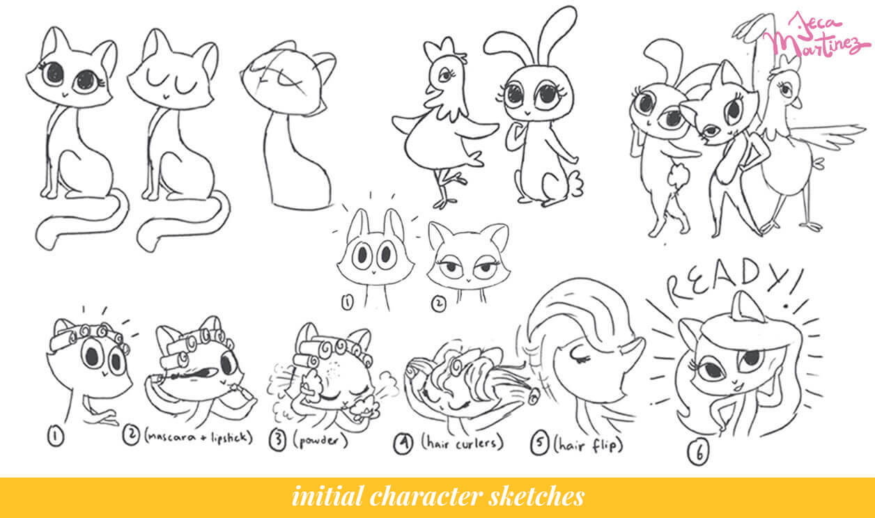 Initial Character Sketches of Tres Chic for Facebook by Jeca Martinez