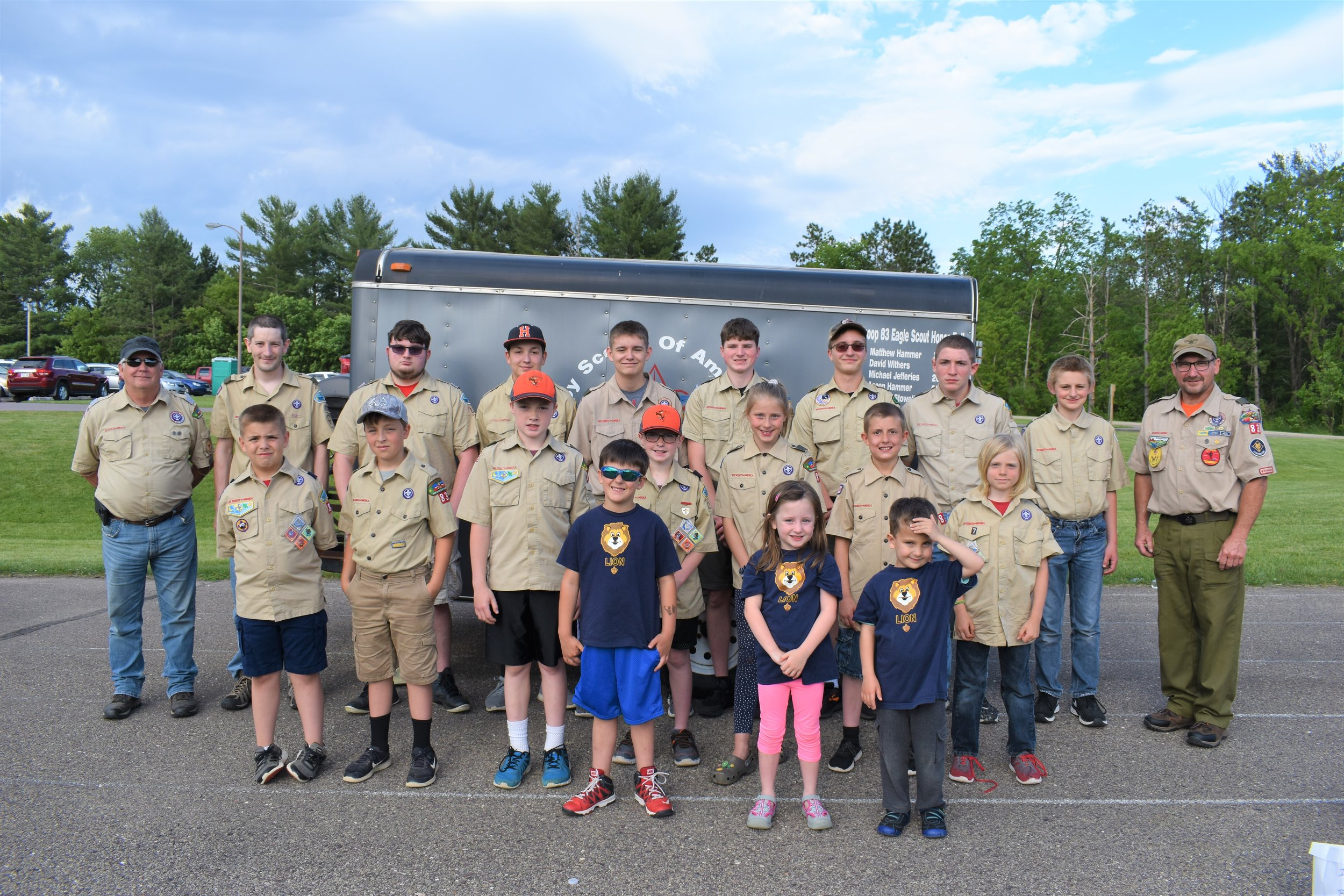 Scouts in service representing Troop 83, Cub scouts Pack 83, and Elroy Troop 88 Front row L to R- Westin, Abby, and Brock. Second row L to R- Bryce, Nick, Marty, Marshall, Lauren, Eddie, and Oliver. Back row L to R- Scout Leaders Don Hammer and Ryan Prechel. Scouts PJ, Nathan, Niles, Nick, Ethan, Jacob, Owen, and Scout Leader Tom Stowell