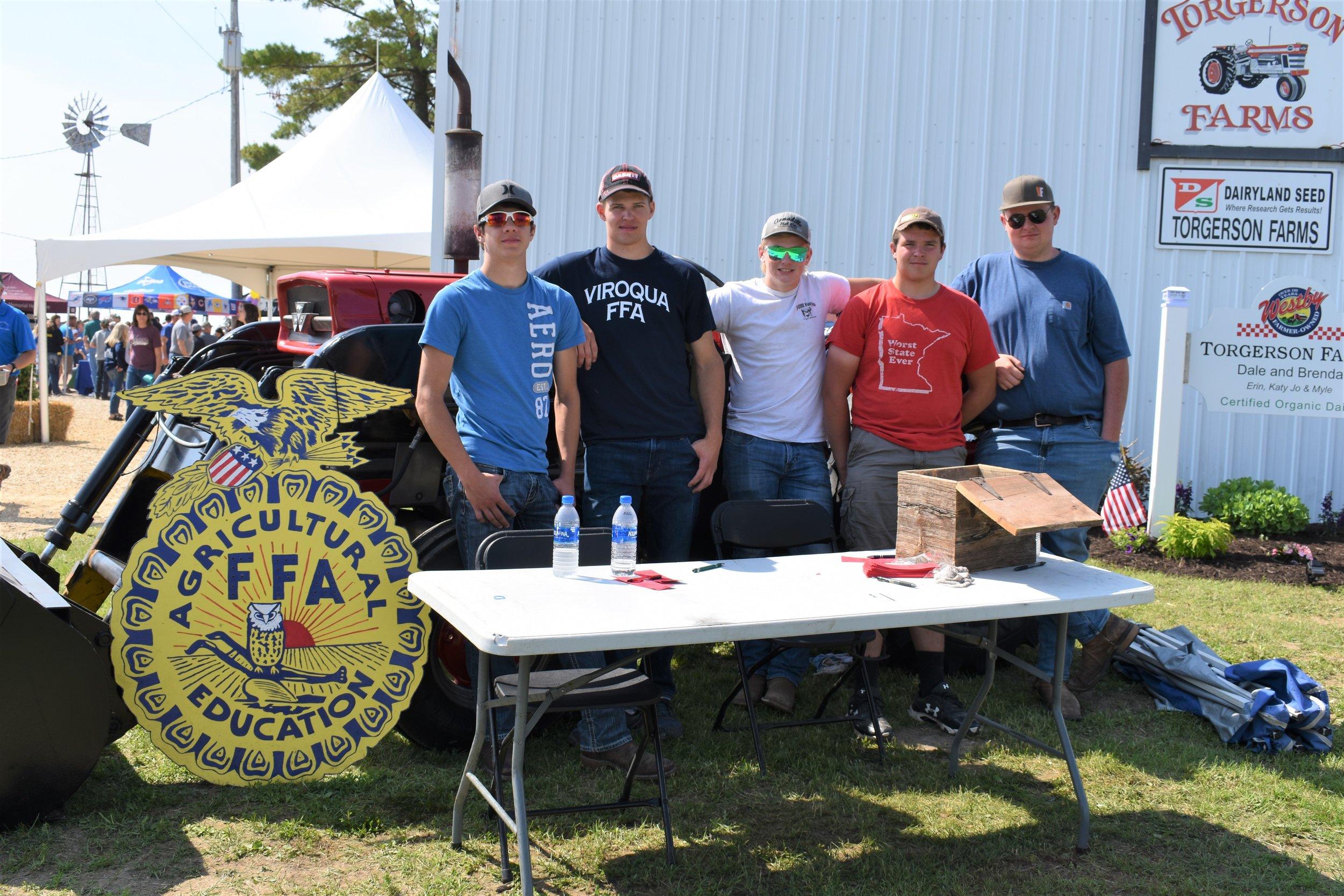 Viroqua FFA members L to R- Jacob Ellefson, Jacob Cunti, Austin Yttre, Dalton Hardy, and Landon Lucey