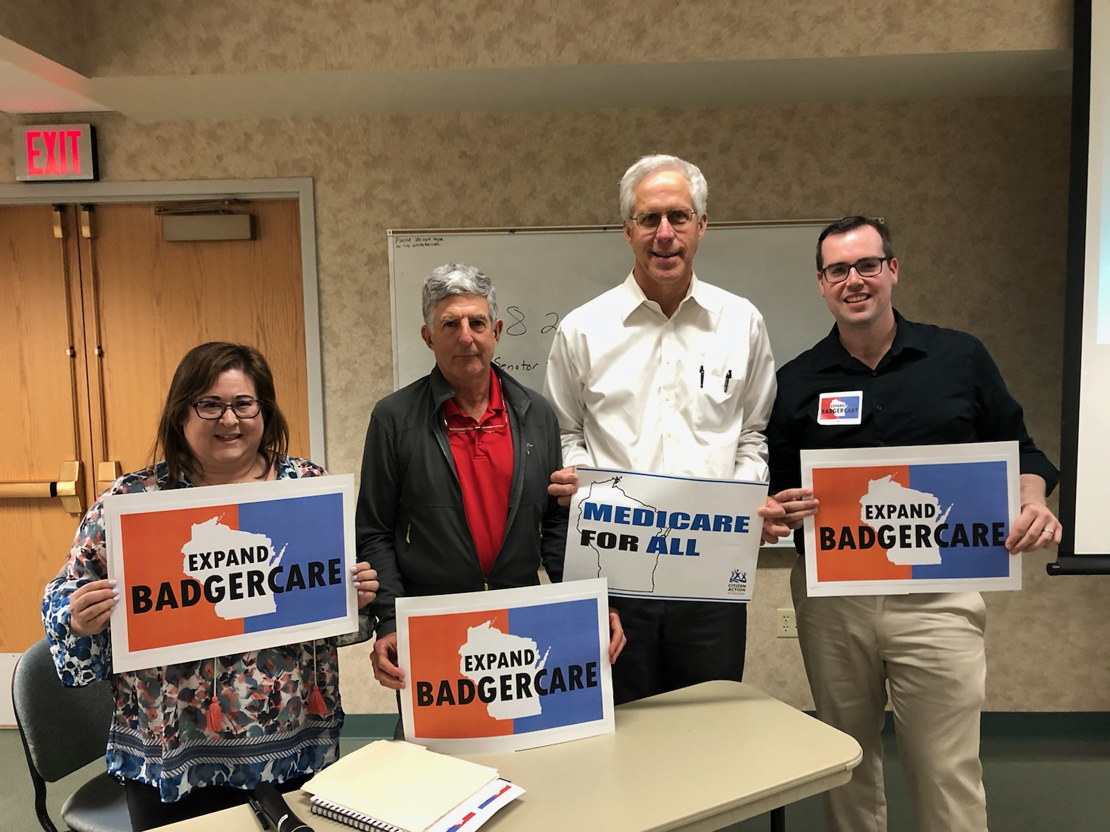 Pictured from left to right- State Rep. Lisa Subeck (D-Dane), Dr. Neil Bard, Dr. Mark Neumann and Kevin Kane