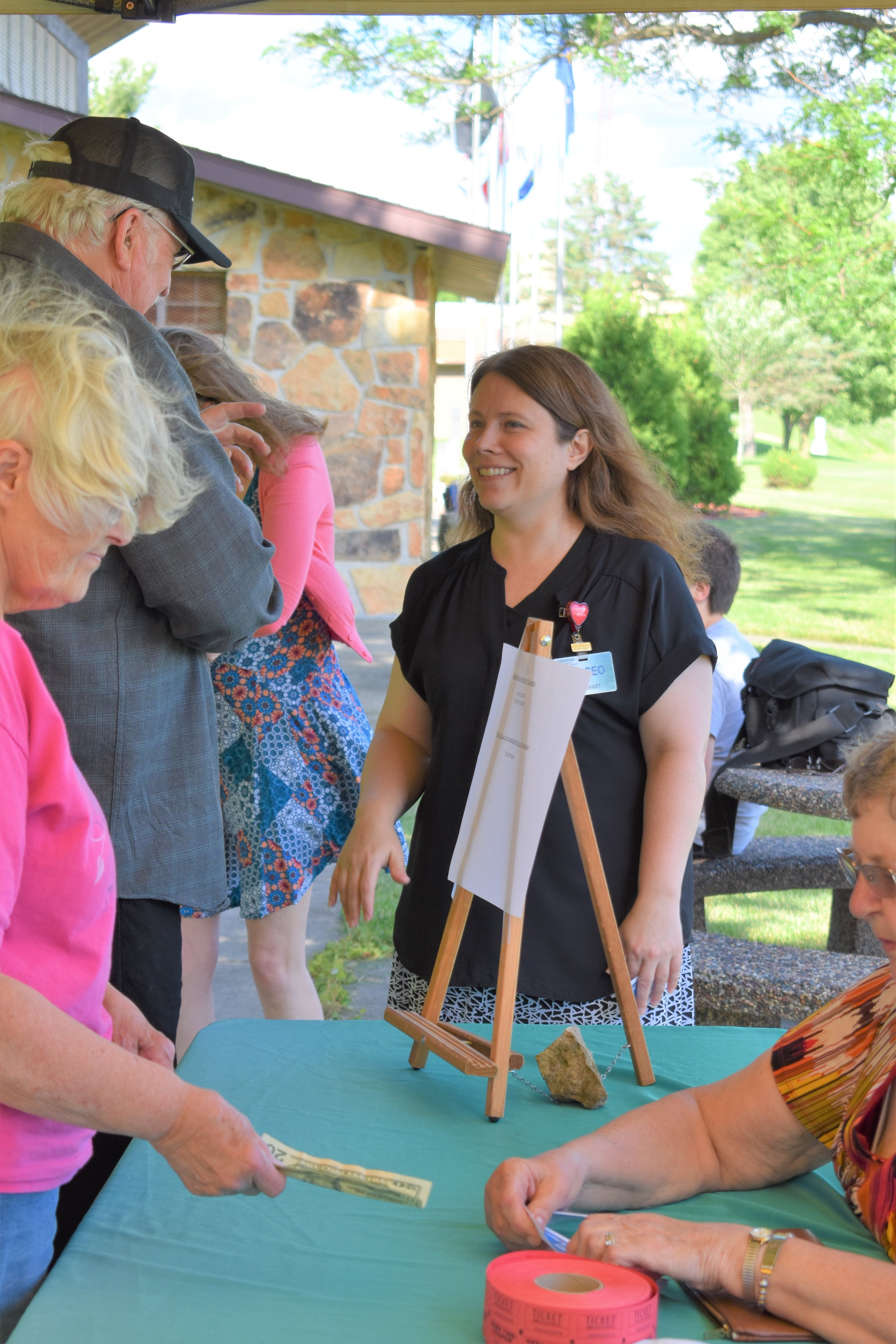 CEO of Gundersen St. Joseph's Hospital and Clinics Danielle Gearhart, greets tea party guests