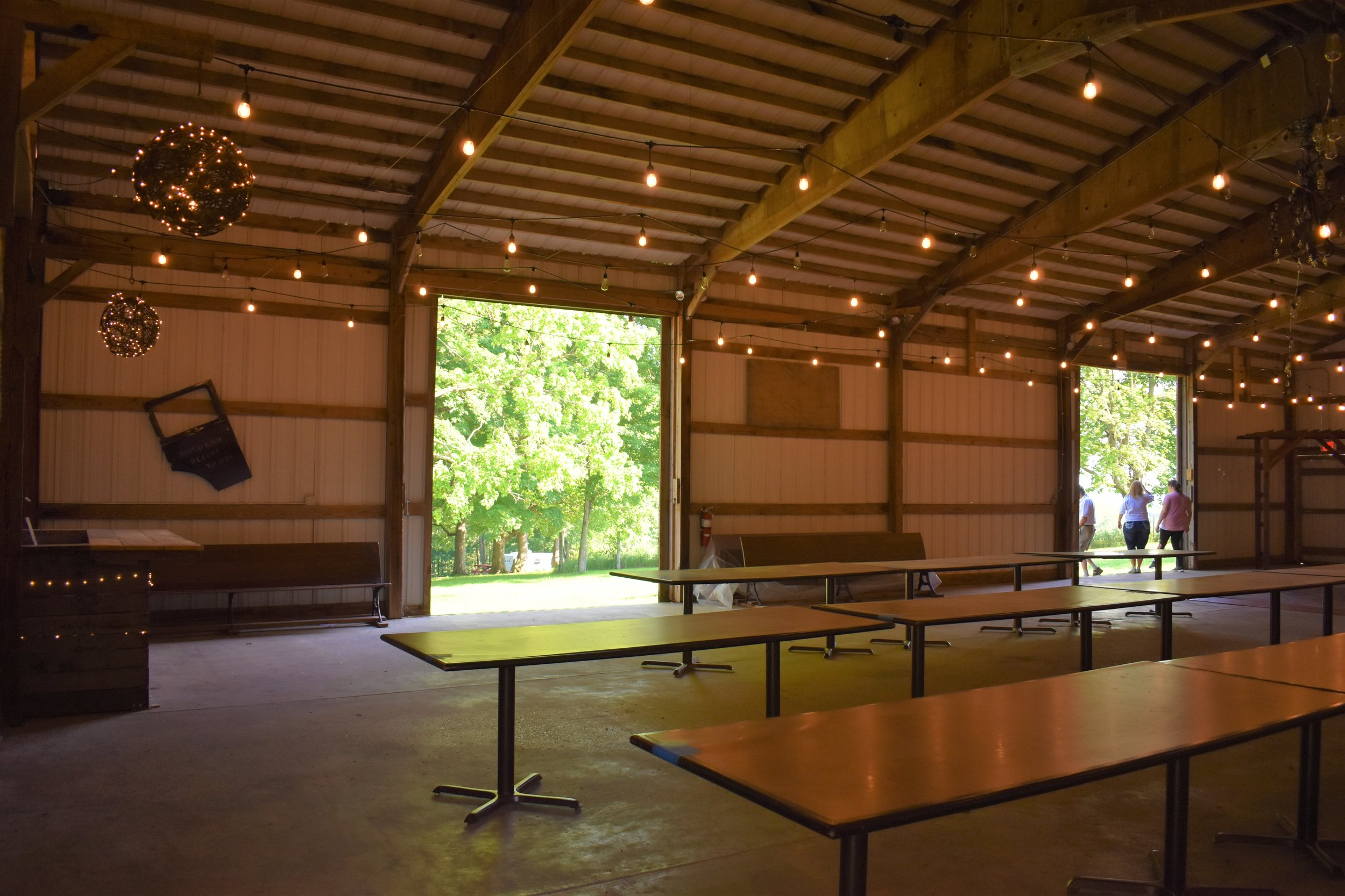 The converted basketball court shed that serves as an event venue perfect for weddings