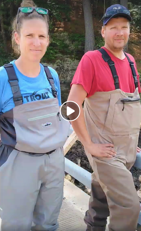 Caroline Druschke of UW Madison and Matt Albright, technician for Vernon County Land and Water Department, during their initial interview video
