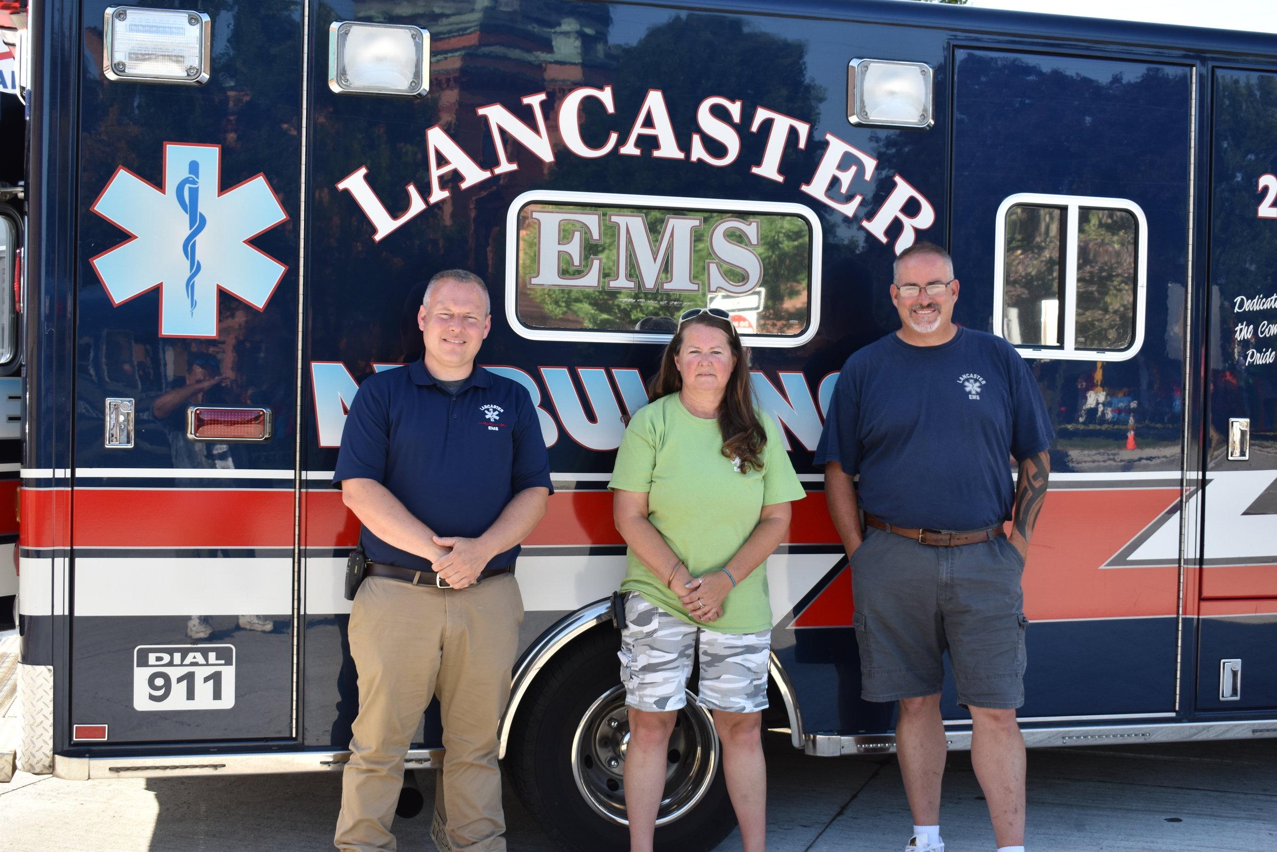 L to R- Steve Braun, Nancy Moore, Michael Shinee of the Lancaster EMS