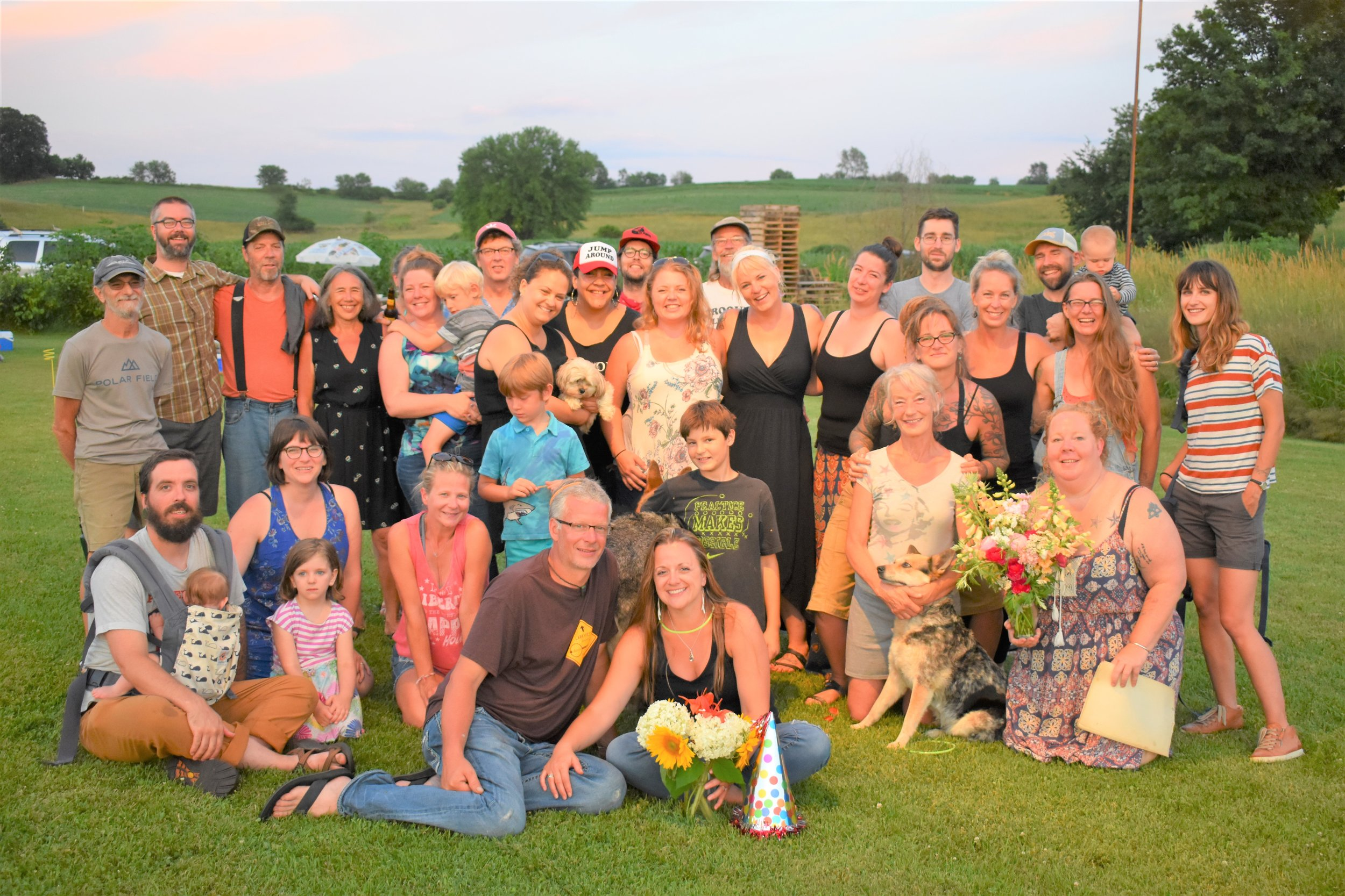 Some of the Kickapoo Valley Croquet Club. In front and center, l to r are Kya and Fiance Morgan, who happened to be celebrating a birthday that evening.