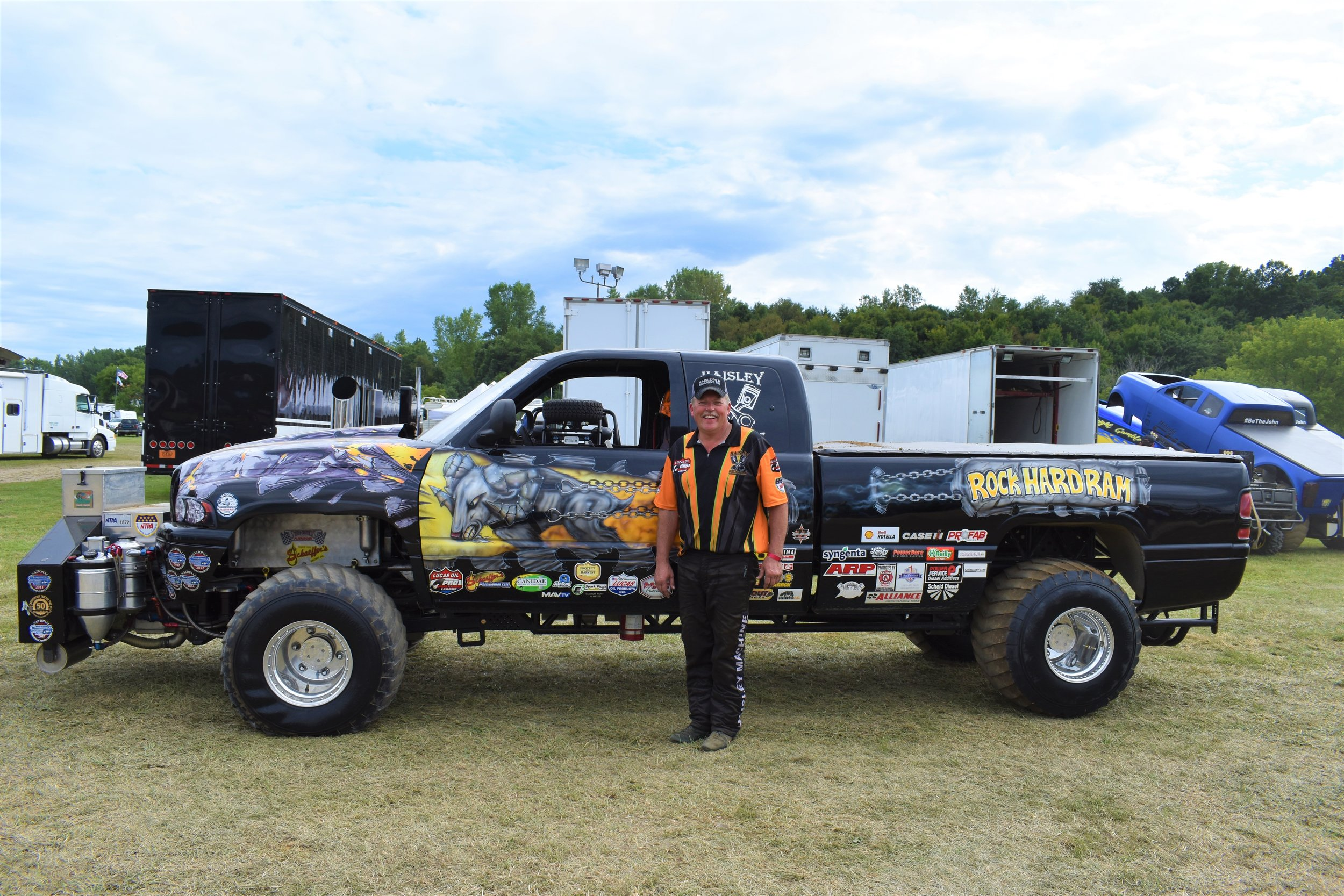 "Van Haisley took first in the Super Stock Super Diesel Truck division in his truck ""Rock Hard Ram"""