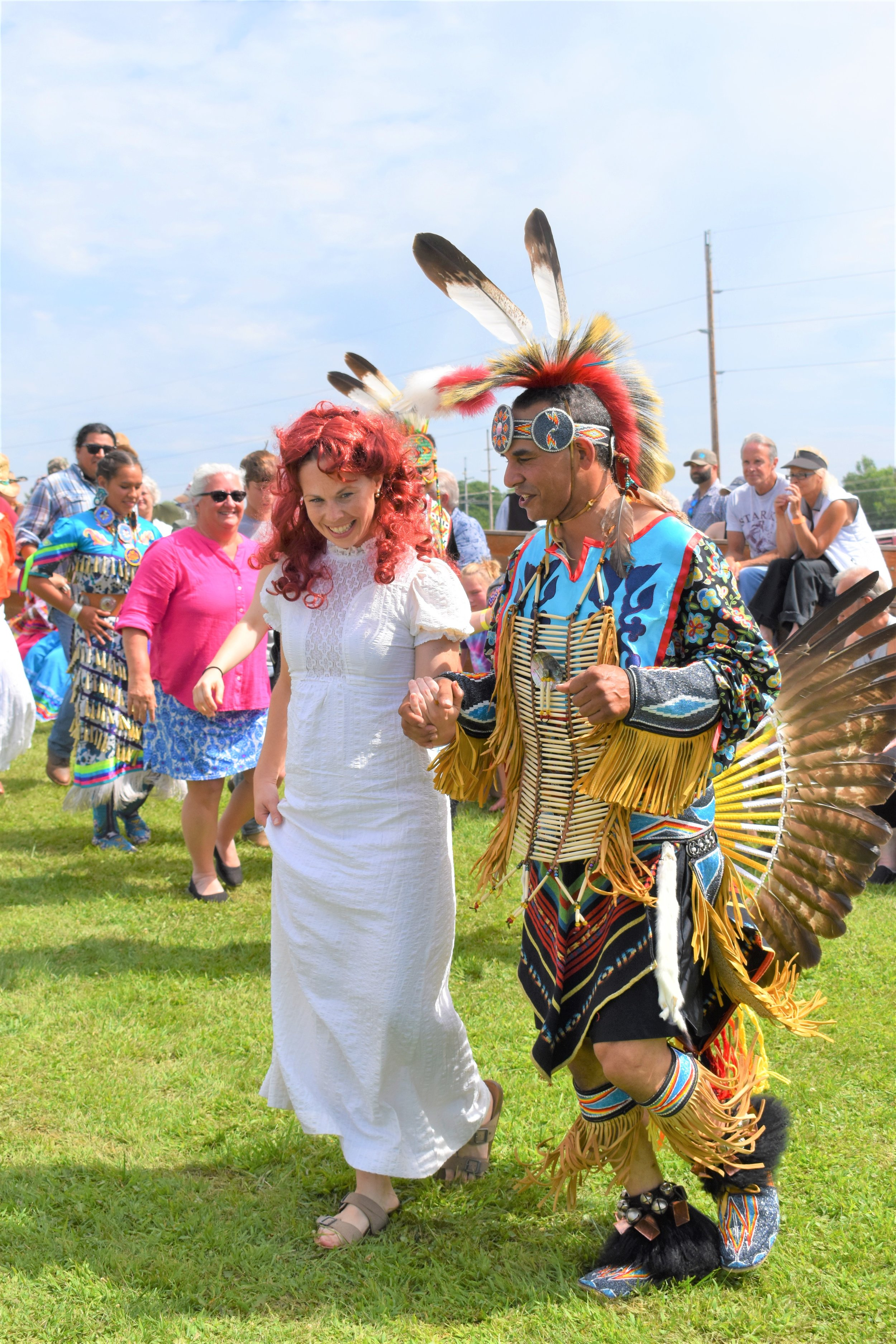 Pam Taylor with Traditional Dancer Justice Funmaker