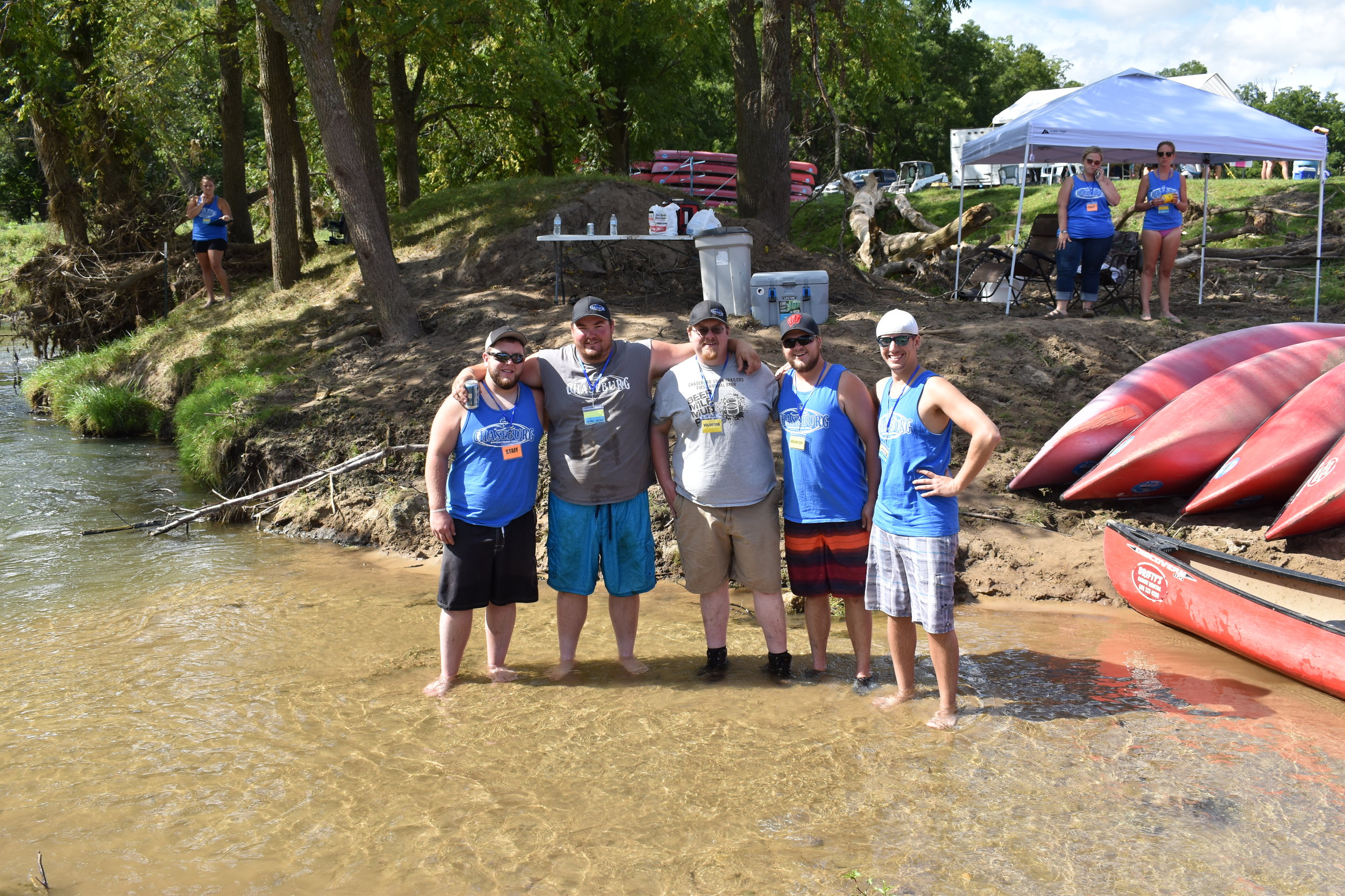 L to R- Helping launch canoers were Chaseburg Snow Trailers Mason Ostrem, Justin Helgeson, Joe Garbers, Adam Olson and Jeff Richards