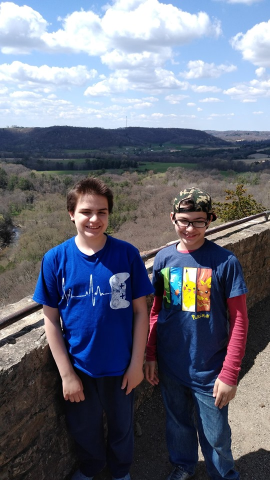 The boys this spring at lookout point -Wildcat Mountain State Park