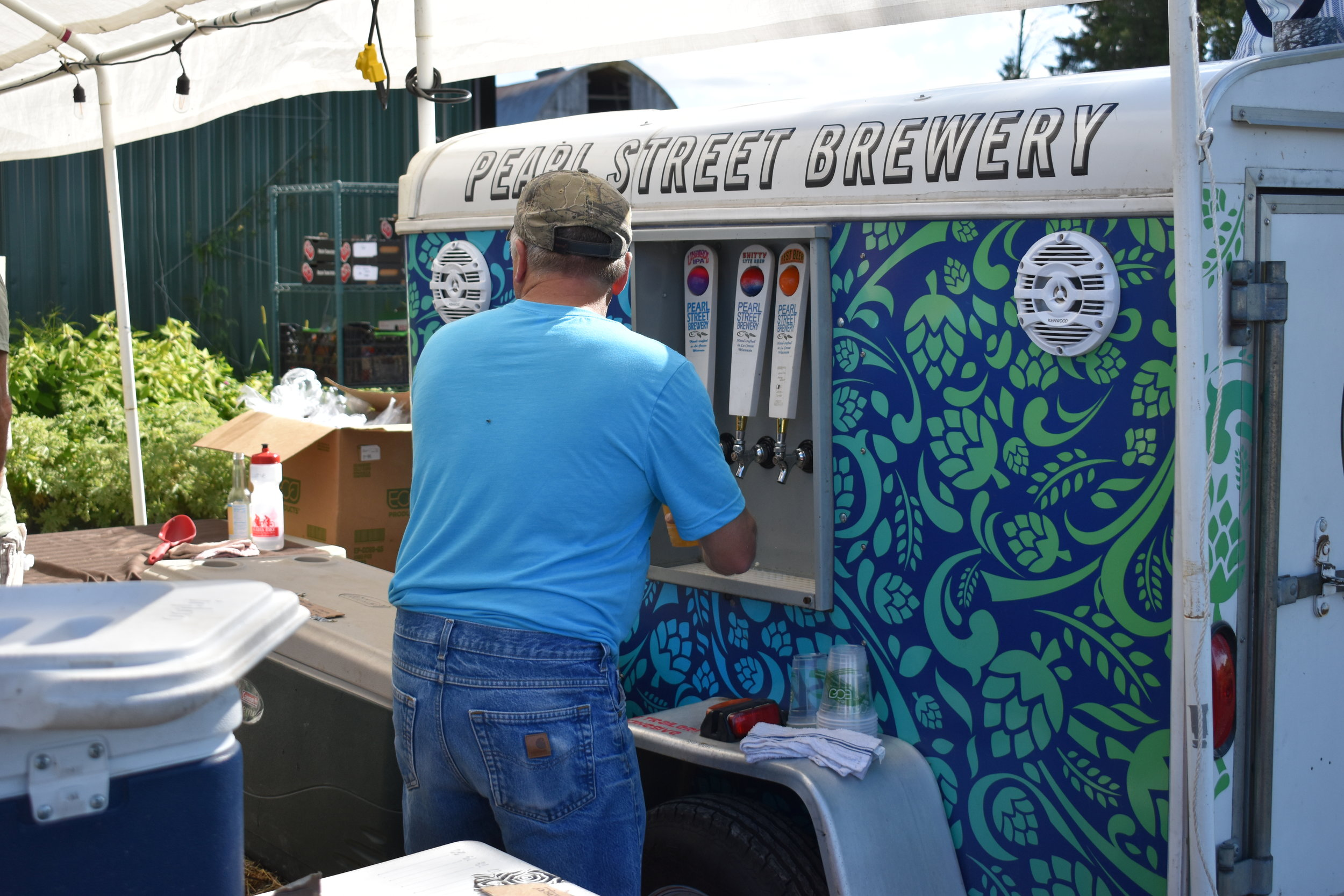 Serving up beer from Pearl Street Brewery