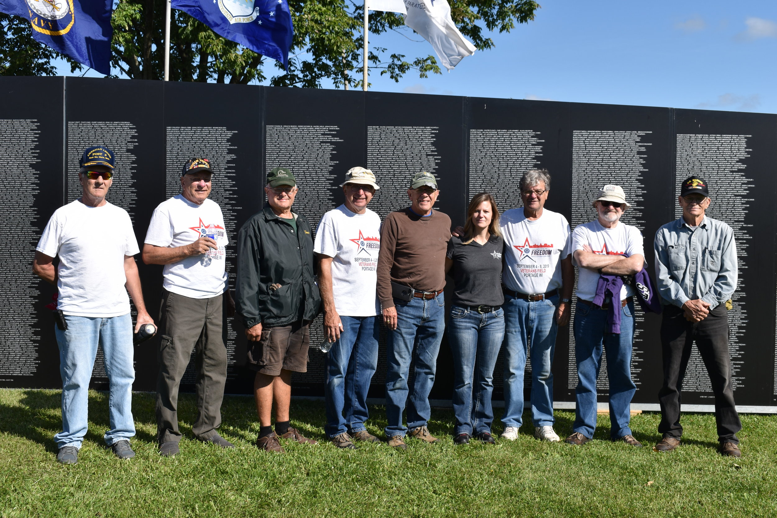 L-R Don Saunders Post 47 Army, Gary Anderson Post 47 Marine Corps, Eugene Pribnow Post 47 Navy, Norm Bednarek Post 47 Adjutant- Army, Pat Hartley Post 47 US Navy Riverines, American Legion of Wisconsin Adjutant- Amber Nikolai-Navy, Dean Simonson Post 47 Commander Army, Dave Eulberg Post 47 Army, and Jerry Brown US Marine Corp.
