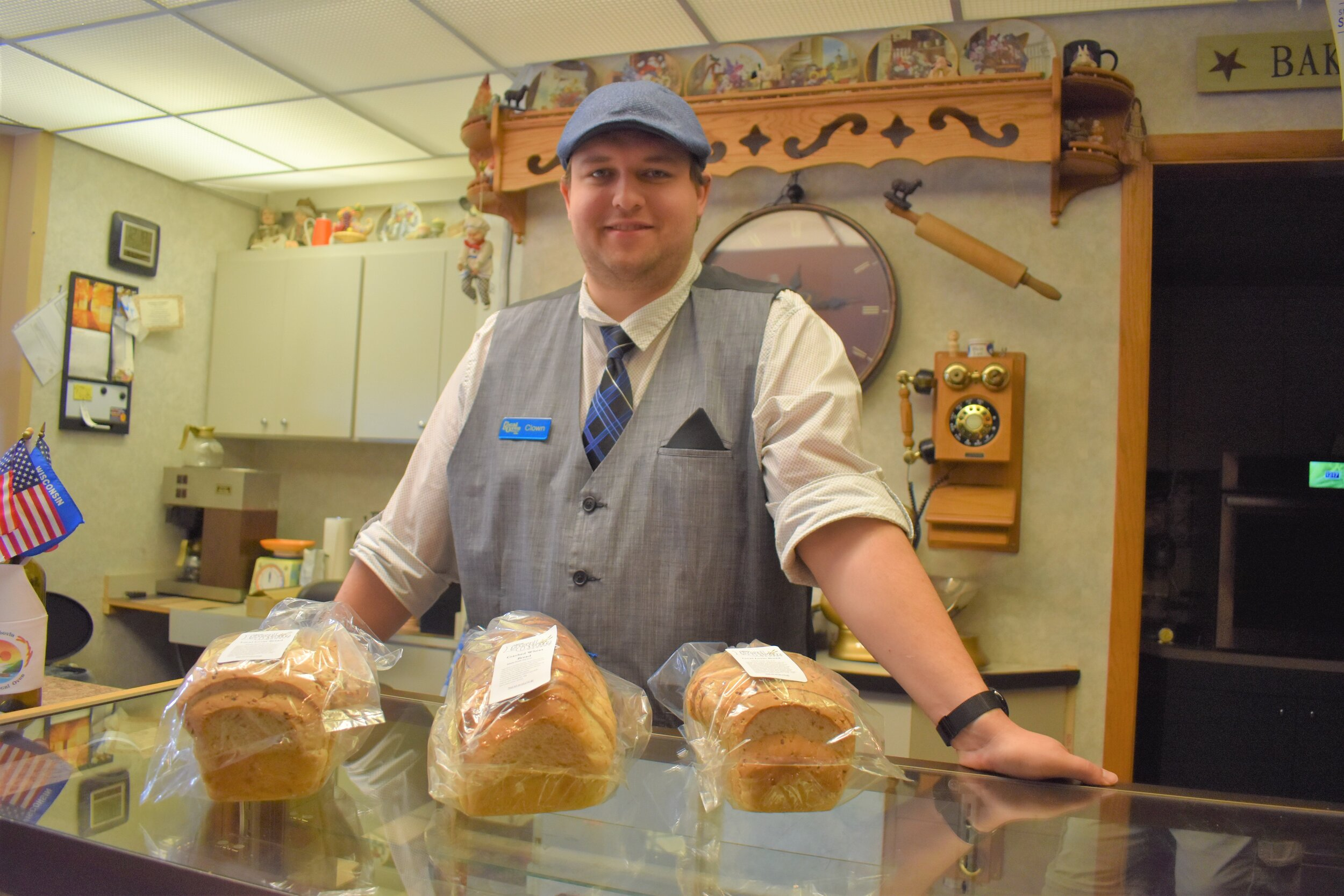 Joe Cerven with a few of the bakery's breads.