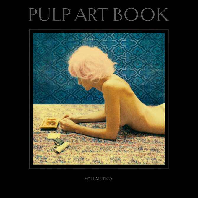 """Pulp Art Book: Volume Two   Nazraeli Press Hardcover, 12 x 12, 72 pages 44 four-color plates  Designed as a companion book to the LP-sized """"Pulp Art Book: Volume One"""", this much anticipated second volume builds on the first, introducing several new characters and vignettes, while solidifying Joni Harbeck and Neil Krug's position as the hippest ex-Kansans in the contemporary art world. Poliziotteschi films were a major influence for Volume Two, in particular with the """"Heist"""" series, which introduces Farrow, Patti and Tash. Jackie, Mystic White Flight, SummerLovers and other favorites make their appearances as well. Taken together, the characters and imagery in this fresh new collection take Pulp Art Book to a new level.   """"Neil Krug and Joni Harbeck have given birth to a poignant ballad of imagery that incorporates both psychedelia and spirituality. Pulp Art Book is an examination of societal life during the 1960's and 70's as well as a stylistic homage to B movies and Spaghetti Westerns. Krug has drawn attention in recent years for his commercial work with the likes of Ladytron, The Horrors, and Devendra Barnhart, while model Joni Harbeck has been a muse to many and is the heroine of the print trilogy."""" – Planet"""