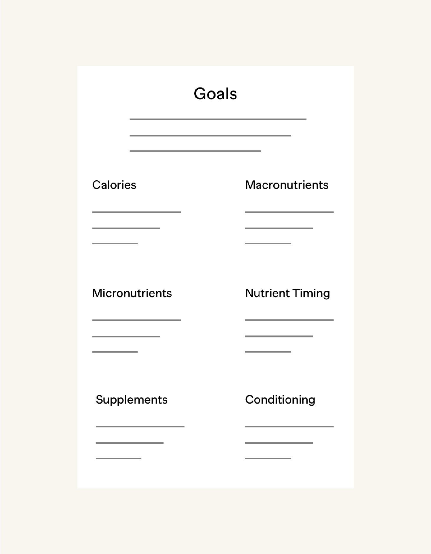 STEP 3Program Development - Your coach will review your athlete onboarding form and prepare a nutrition road map and starting program for you. The roadmap will be your north star, and your coach will guide you every step of the way to ensure your goals are met.
