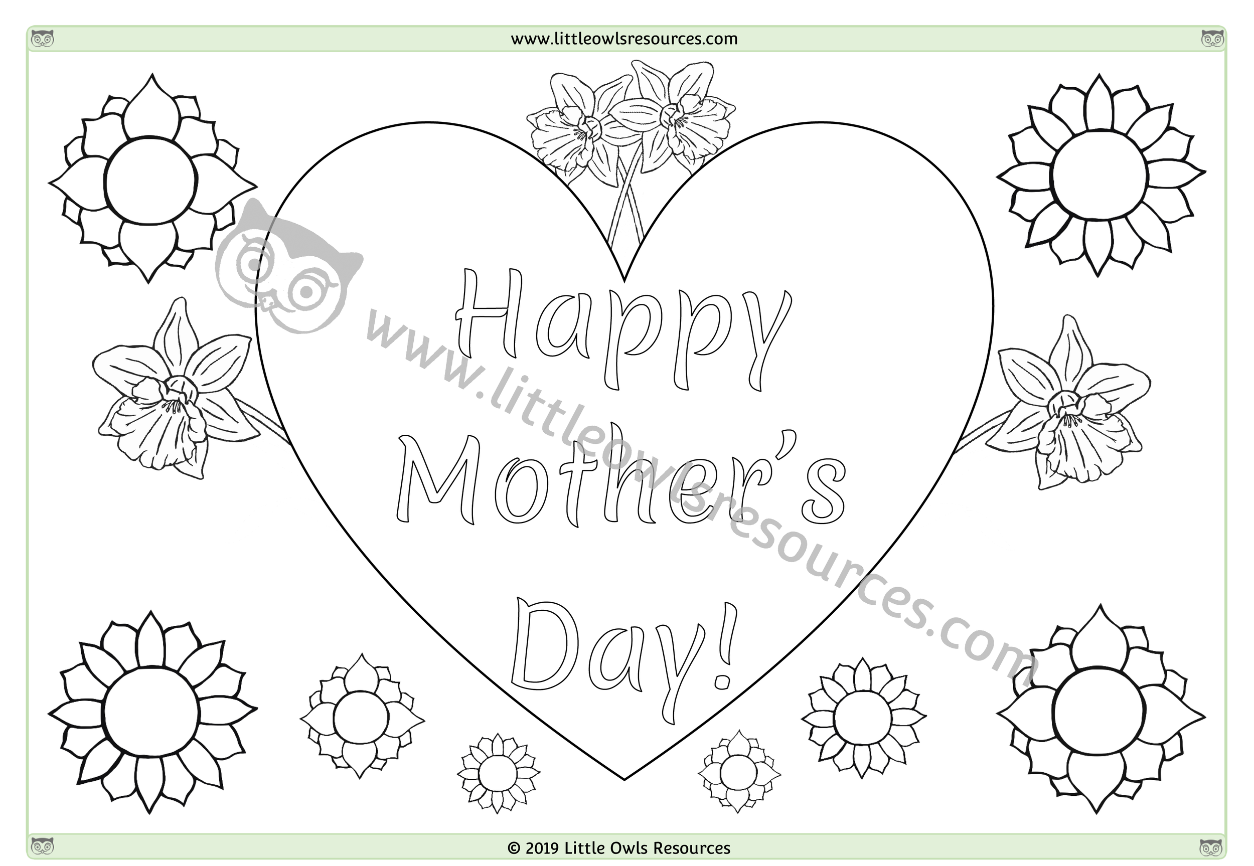Mother's Day Colouring 1 -