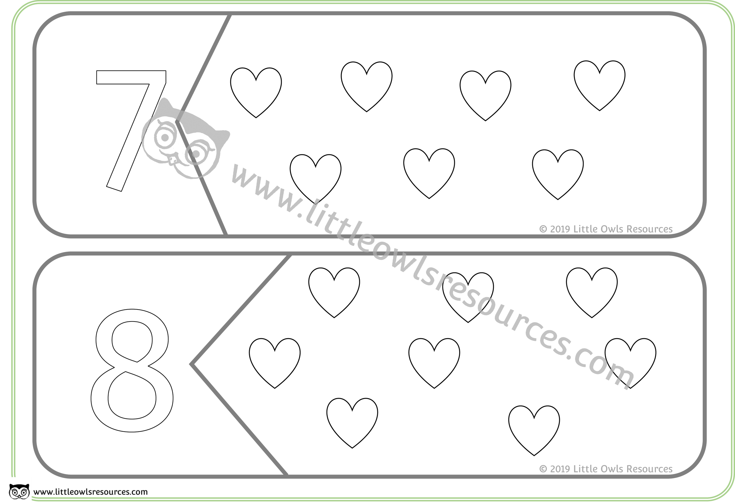 Count the Hearts Number Puzzles 7 & 8 -