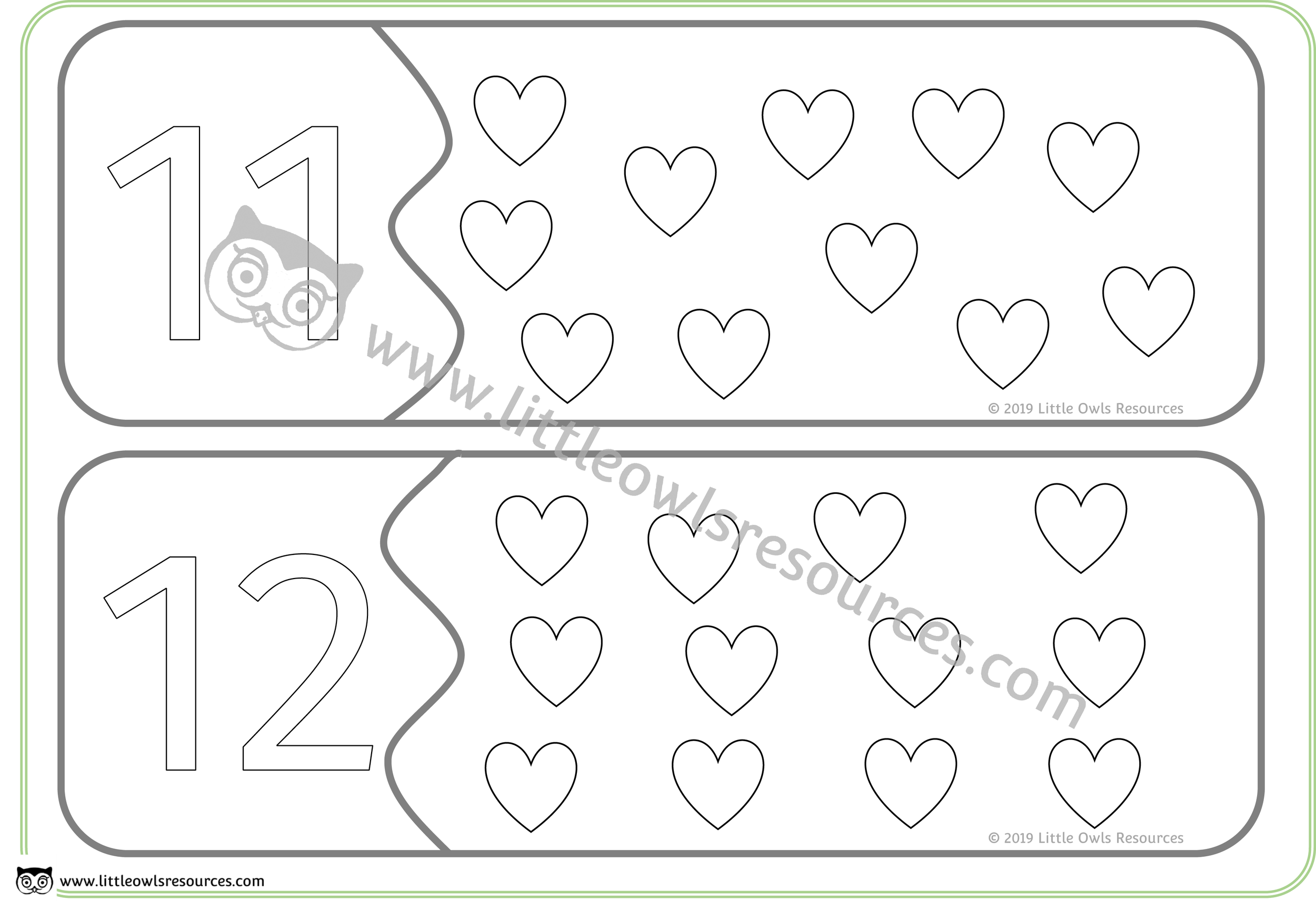 Count the Hearts Number Puzzles 11 & 12 -