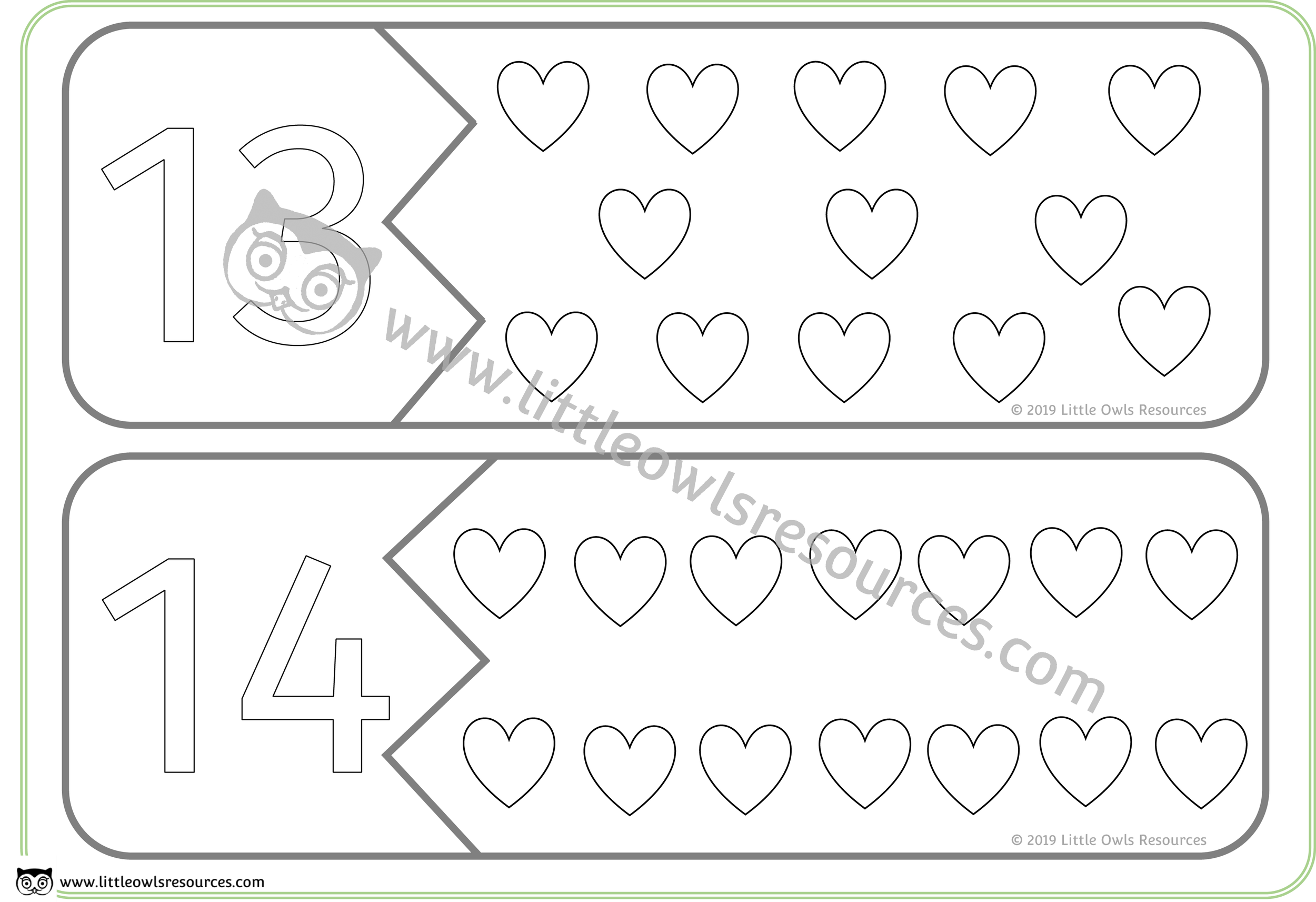 Count the Hearts Number Puzzles 13 & 14 -