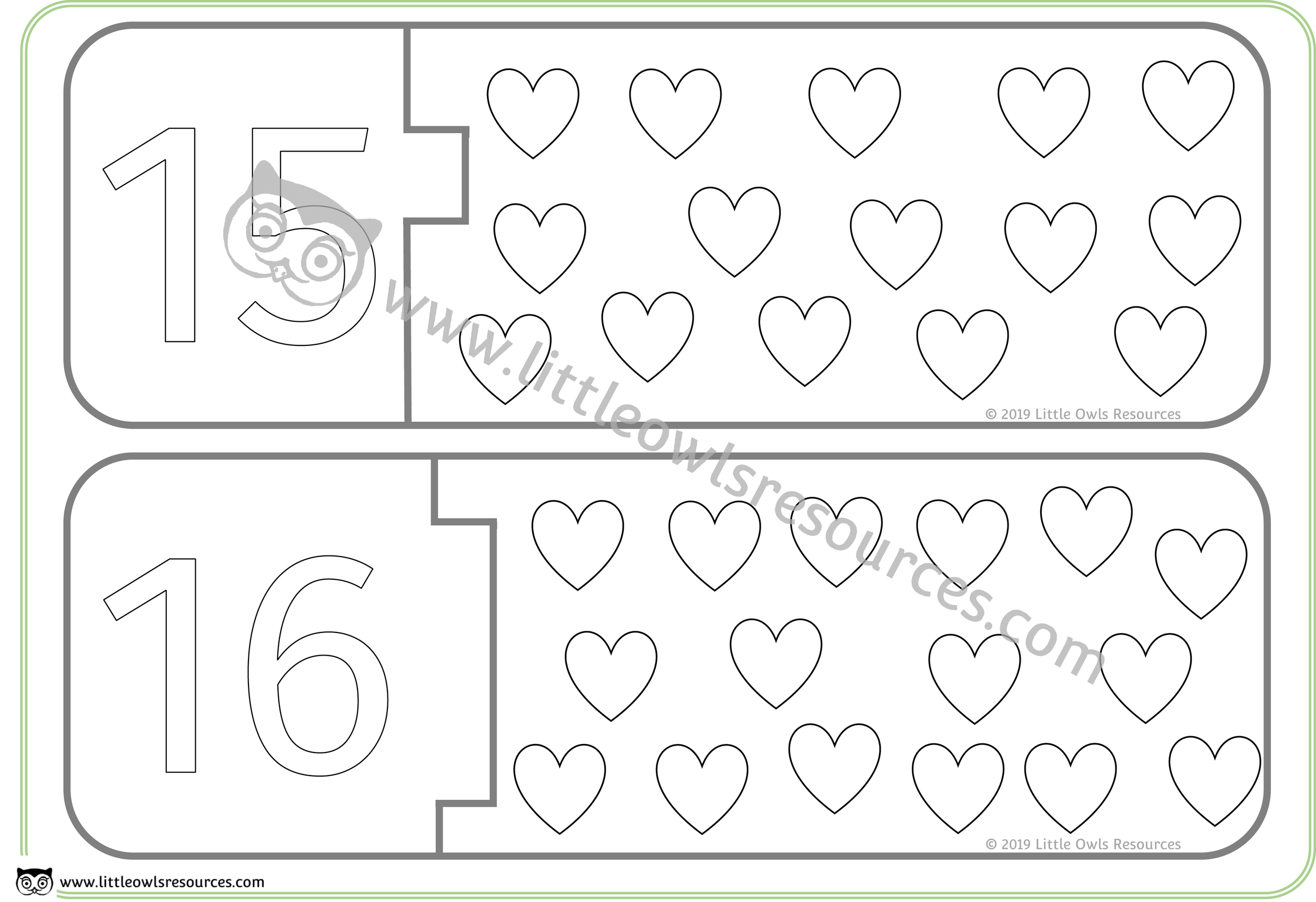 Count the Hearts Number Puzzles 15 & 16 -