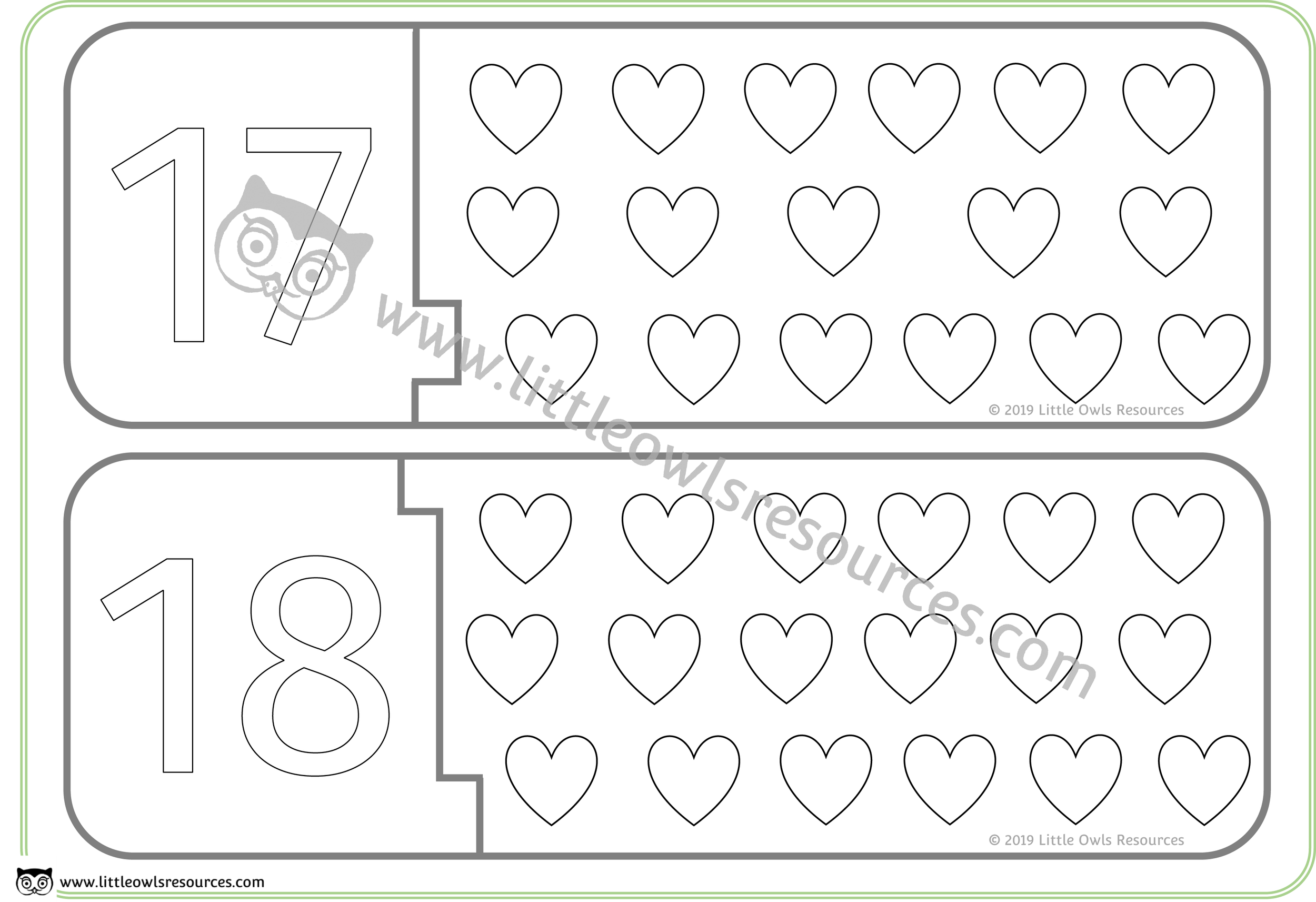 Count the Hearts Number Puzzles 17 & 18 -