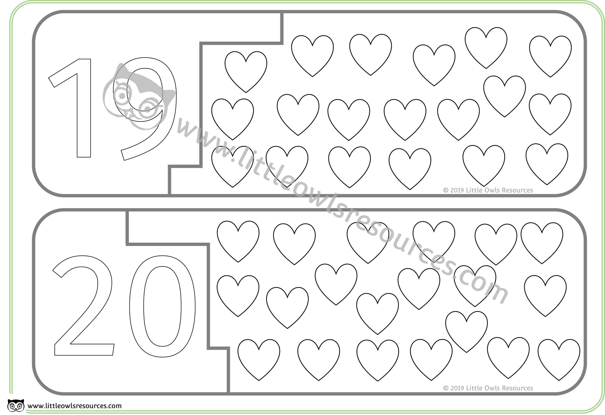 Count the Hearts Number Puzzles 19 & 20 -