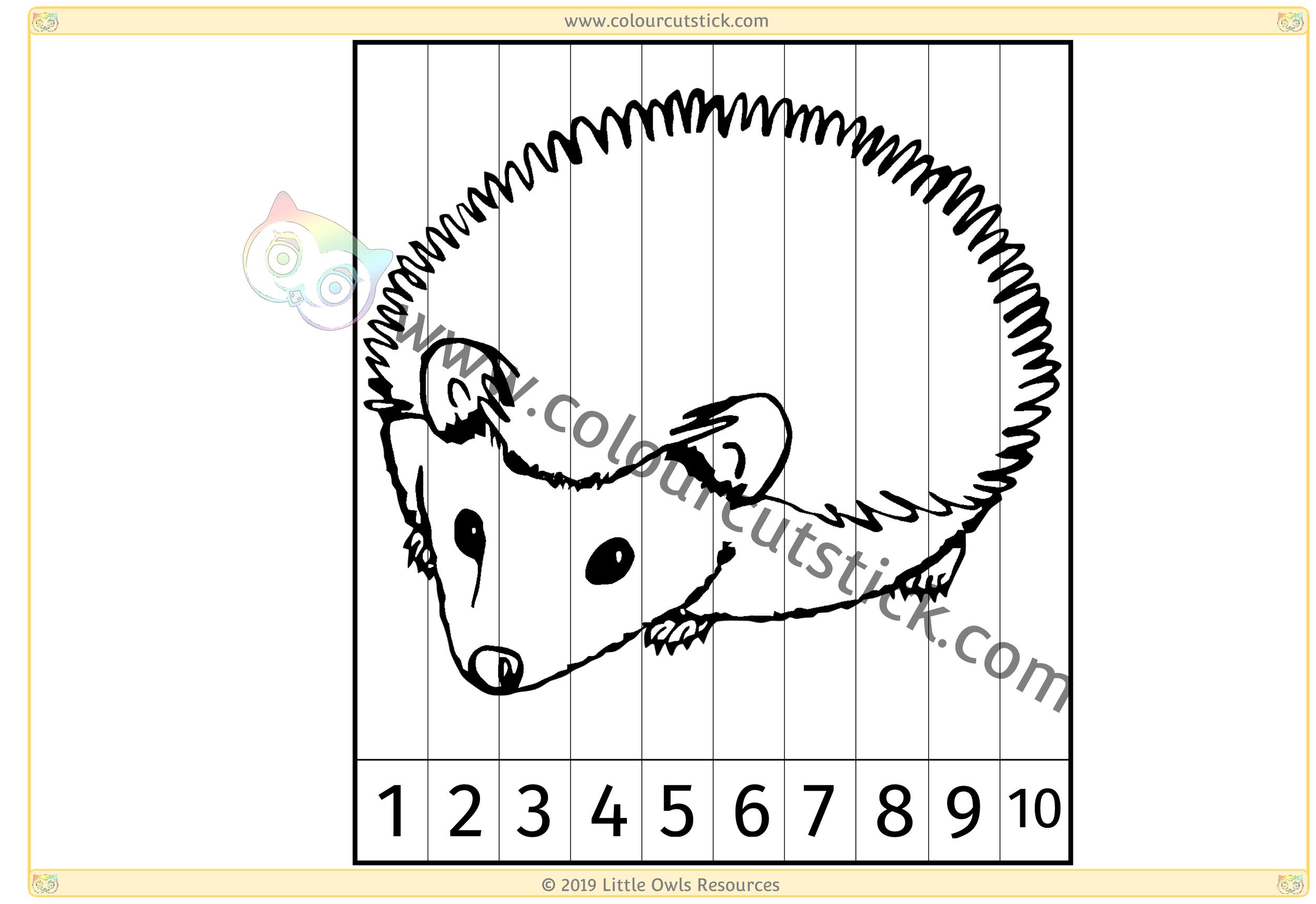Hedgehog Number Slice Puzzle 1-10 -