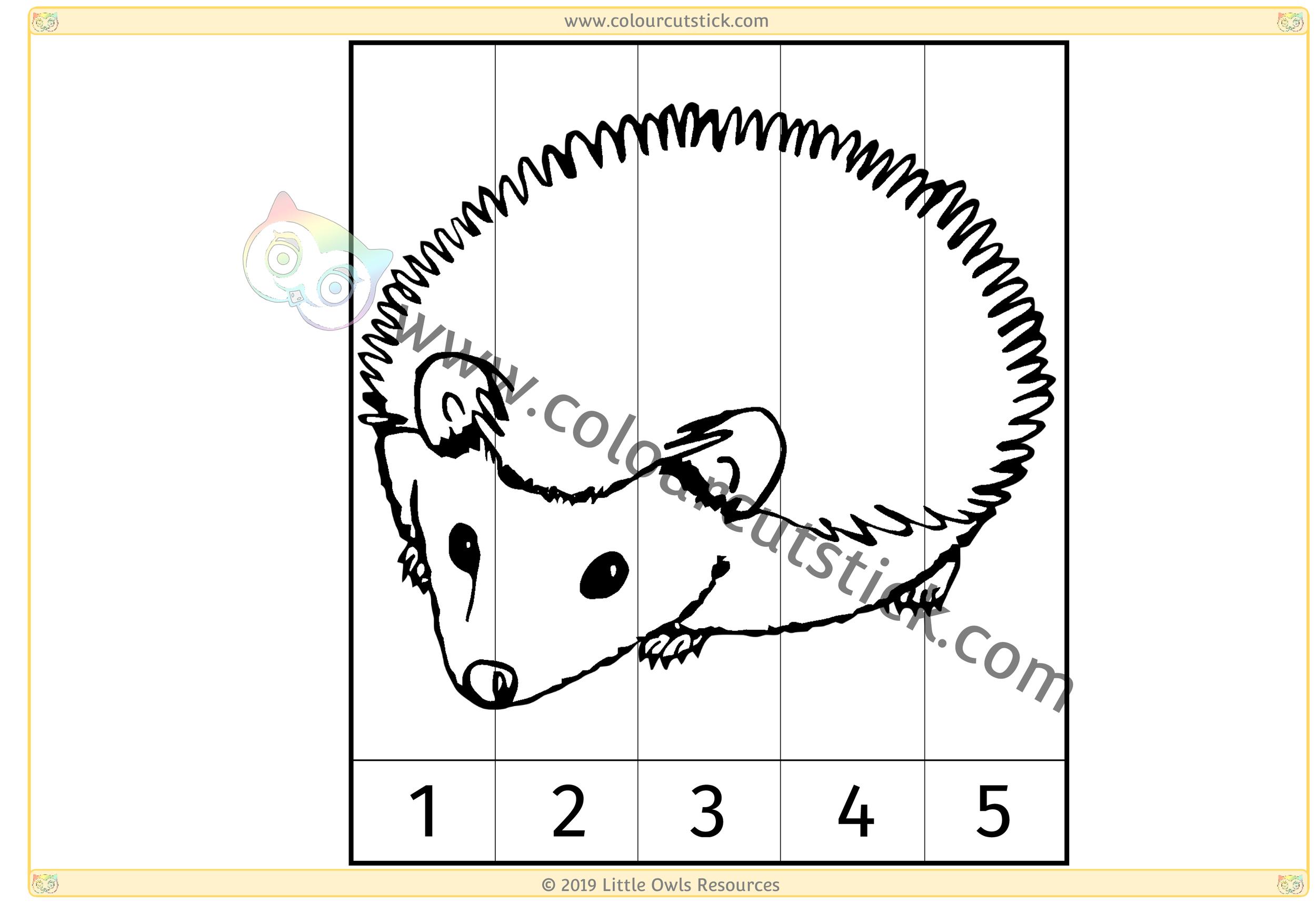 Hedgehog Number Slice Puzzle 1-5 -