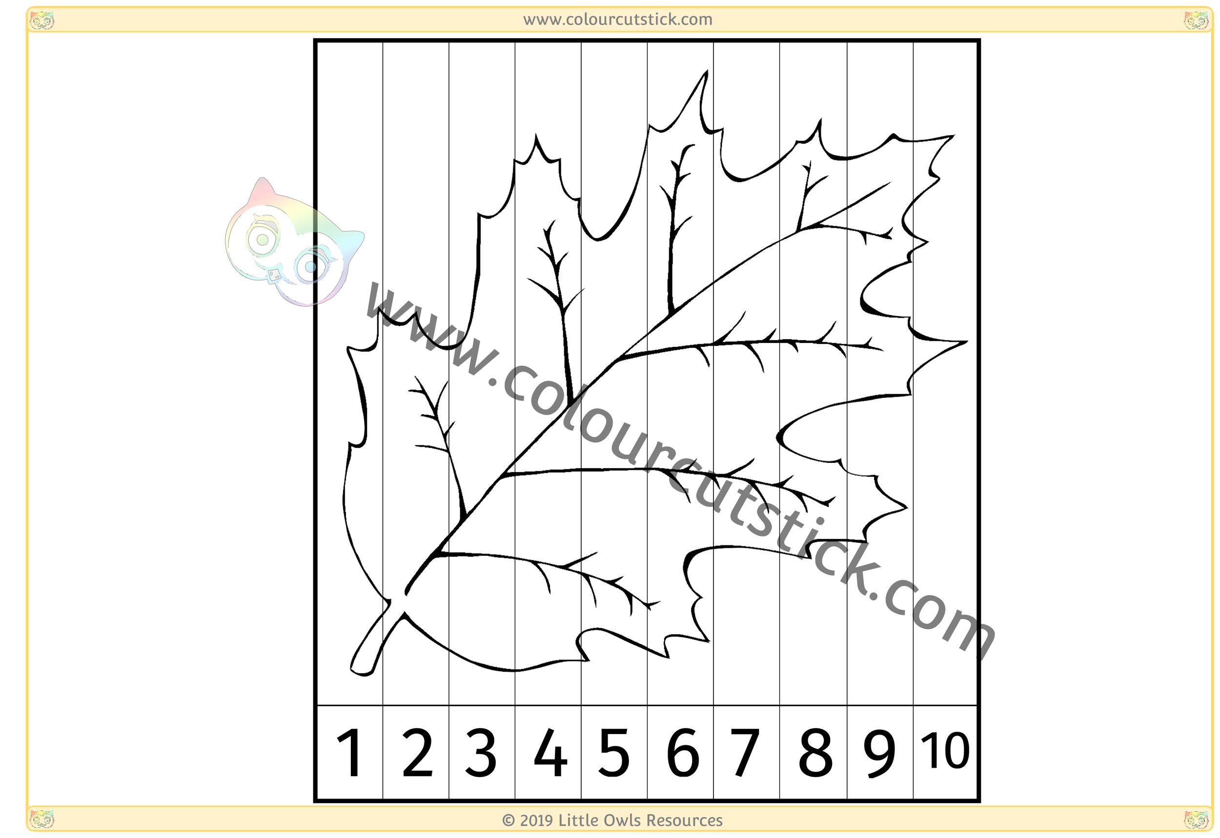 Leaf Number Slice Puzzle 1-10 -